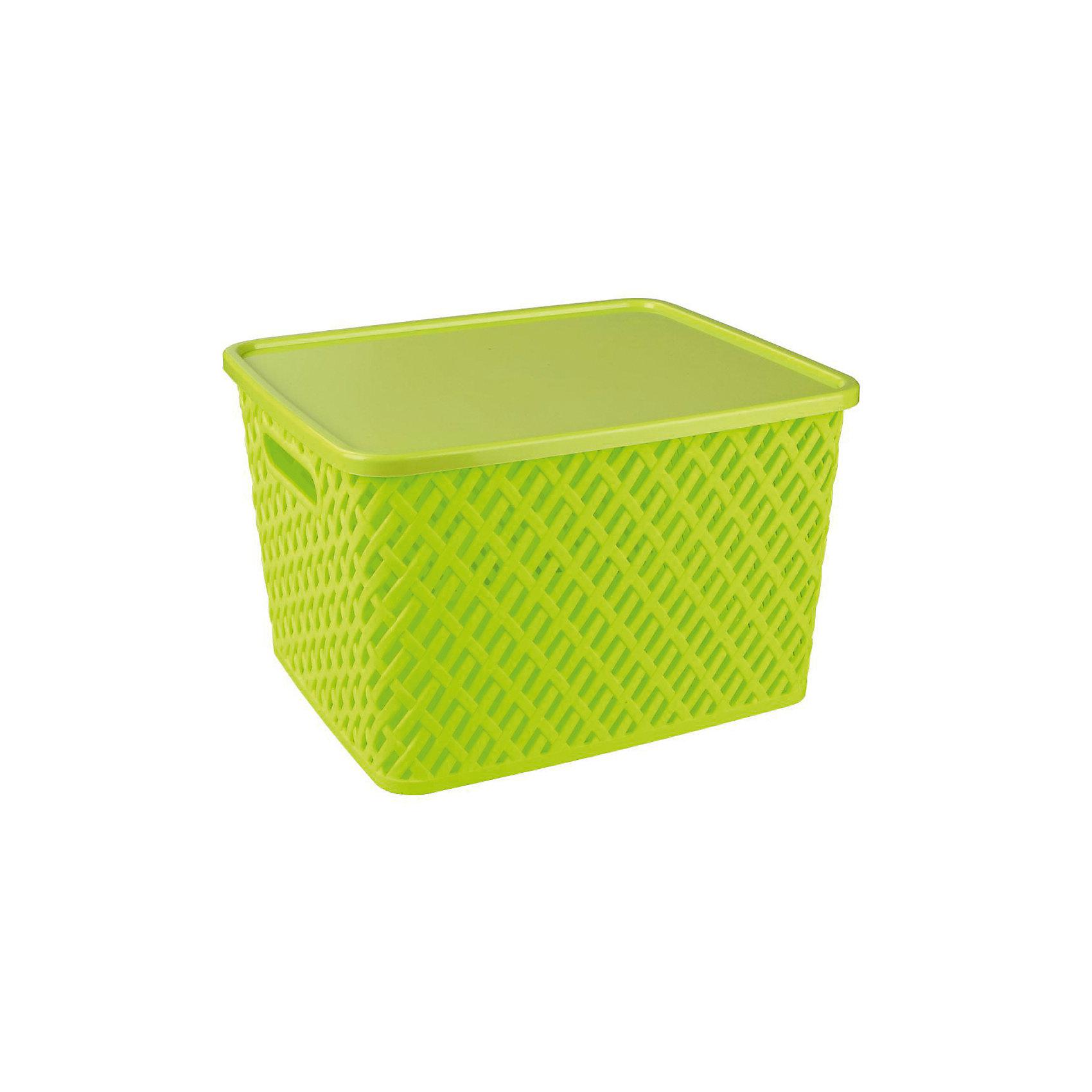 Корзина Плетенка (350х290х225)с крышкой, Alternativa, салатовыйПорядок в детской<br>Характеристики:<br><br>• Предназначение: для хозяйственных нужд<br>• Материал: пластик<br>• Цвет: салатовый<br>• Размер (Д*Ш*В): 35*29*22,5 см<br>• Форма: прямоугольный<br>• Наличие крышки<br>• Особенности ухода: разрешается мыть теплой водой<br><br>Корзина Плетенка (350х290х175) с крышкой, Alternativa, салатовый изготовлена отечественным производителем ООО ЗПИ Альтернатива, который специализируется на выпуске широкого спектра изделий из пластика. Контейнер выполнен из экологически безопасного пластика, устойчивого к механическим повреждениям, корпус оформлен имитацией плетения из лозы с крупными отверстиями, по бокам имеются ручки, в комплекте предусмотрена крышка. Изделие имеет удобную форму, достаточно легкое в уходе. Корзину Плетенка (350х290х175) с крышкой, Alternativa, салатовую можно использовать для хранения белья, игрушек, овощей и многих других целей.<br><br>Корзину Плетенка (350х290х175) с крышкой, Alternativa, салатовую можно купить в нашем интернет-магазине.<br><br>Ширина мм: 355<br>Глубина мм: 305<br>Высота мм: 225<br>Вес г: 676<br>Возраст от месяцев: 6<br>Возраст до месяцев: 84<br>Пол: Унисекс<br>Возраст: Детский<br>SKU: 5096604