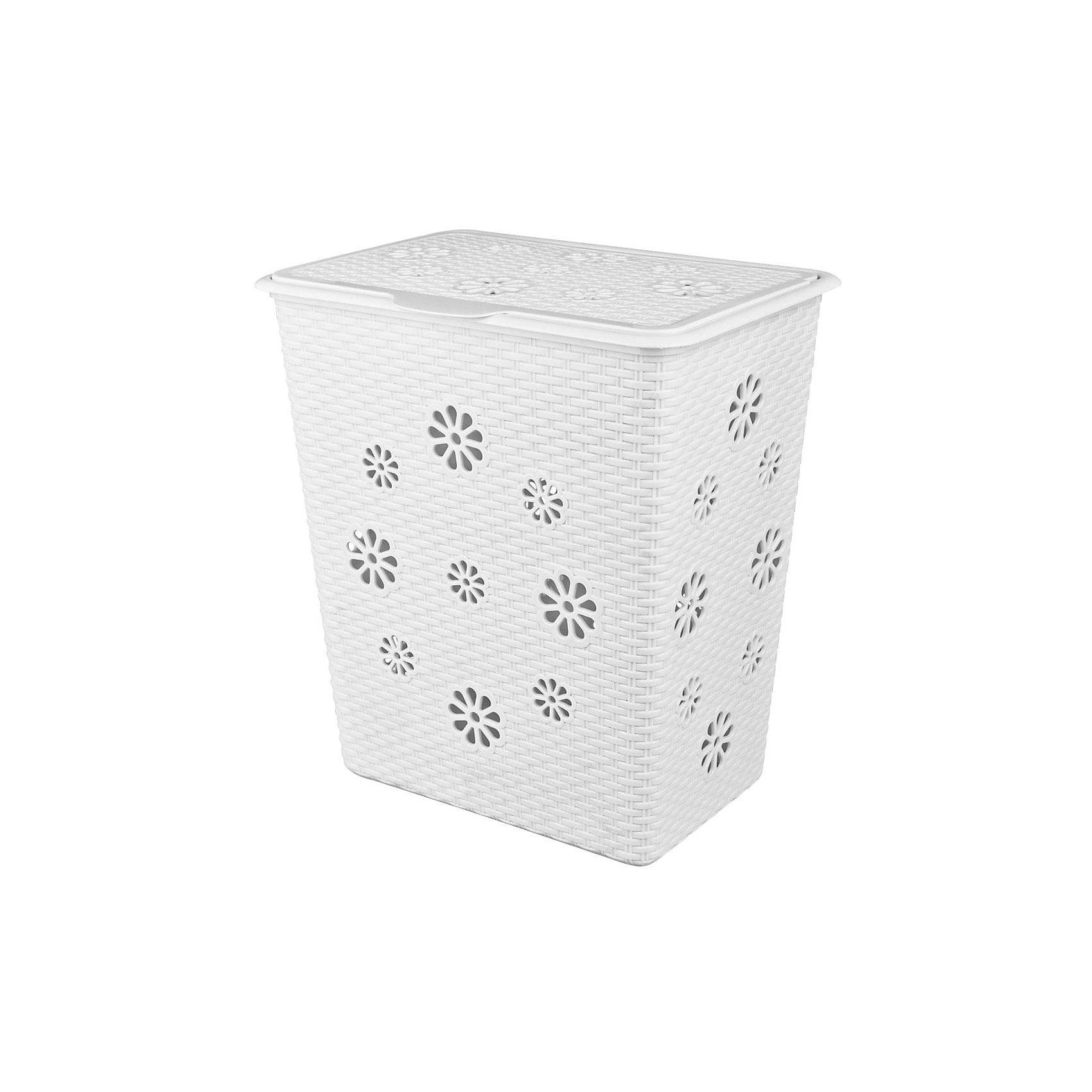 Корзина для белья Плетёнка 60л., Alternativa, белыйВанная комната<br>Характеристики:<br><br>• Предназначение: для белья<br>• Материал: пластик<br>• Цвет: белый<br>• Размер (Д*Ш*В): 34*46*50,5 см<br>• Форма: прямоугольный<br>• Объем: 60 л<br>• Наличие крышки<br>• Особенности ухода: разрешается мыть теплой водой<br><br>Корзина для белья Плетёнка 60 л., Alternativa, белый изготовлена отечественным производителем ООО ЗПИ Альтернатива, который специализируется на выпуске широкого спектра изделий из пластика. Корзина выполнена из экологически безопасного пластика, устойчивого к механическим повреждениям, корпус оформлен имитацией плетения из лозы, по сторонам корзины имеются отверстия в форме цветов, которые обеспечивают циркуляцию воздуха, в комплекте предусмотрена крышка. Изделие имеет удобную форму, достаточно легкое в уходе. Корзину для белья Плетёнка 60 л., Alternativa, белую можно использовать не только для белья, но и для хранения игрушек.<br><br>Корзину для белья Плетёнка 60 л., Alternativa, белую можно купить в нашем интернет-магазине.<br><br>Ширина мм: 340<br>Глубина мм: 460<br>Высота мм: 505<br>Вес г: 2007<br>Возраст от месяцев: 6<br>Возраст до месяцев: 588<br>Пол: Унисекс<br>Возраст: Детский<br>SKU: 5096608