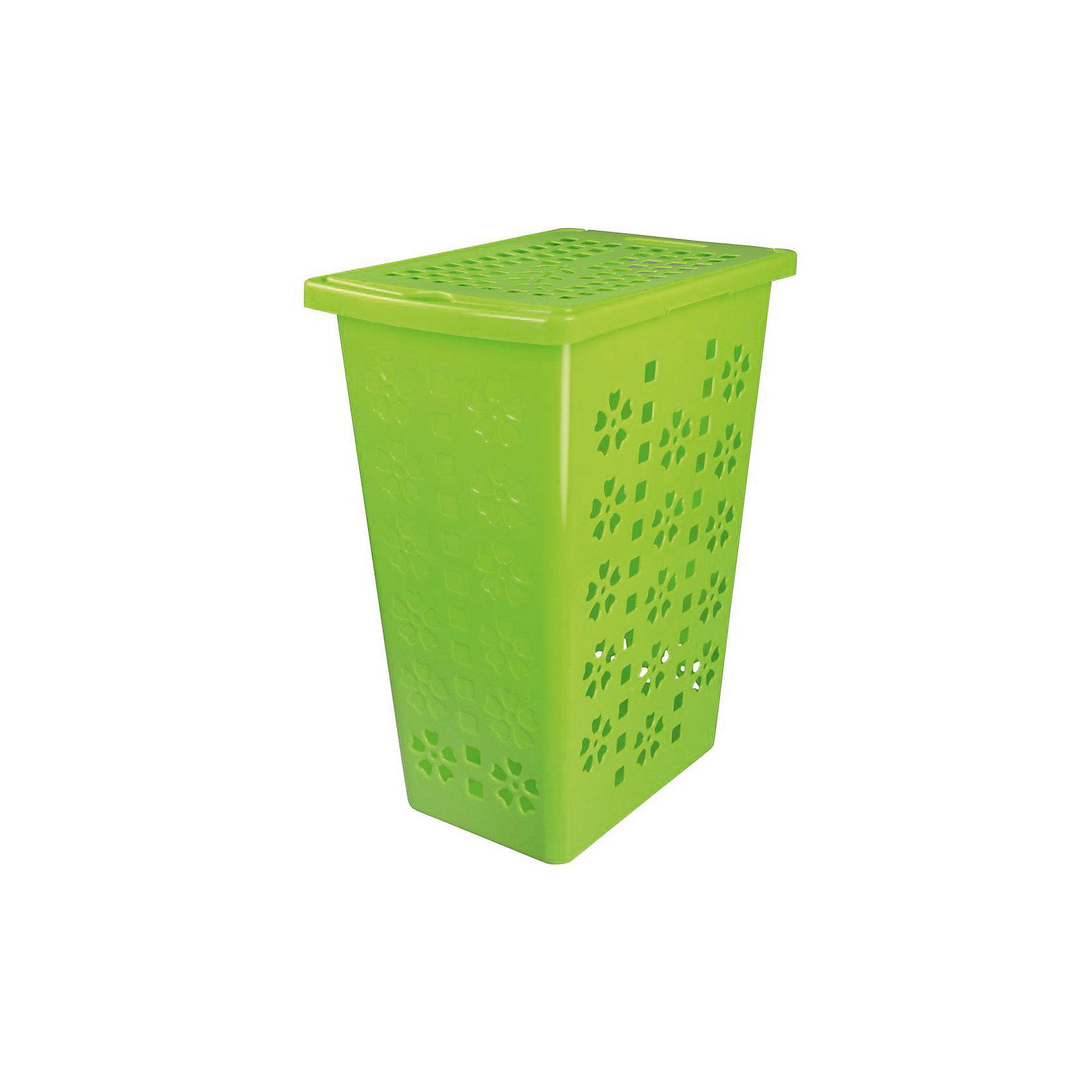 Корзина для белья Виолетта 30л., Alternativa, зелёныйХарактеристики:<br><br>• Предназначение: для белья<br>• Материал: пластик<br>• Цвет: зеленый<br>• Размер (Д*Ш*В): 37,5*25*48 см<br>• Форма: прямоугольный<br>• Объем: 30 л<br>• Наличие крышки<br>• Особенности ухода: разрешается мыть теплой водой<br><br>Корзина для белья Виолетта 30 л., Alternativa, зелёный изготовлена отечественным производителем ООО ЗПИ Альтернатива, который специализируется на выпуске широкого спектра изделий из пластика. Корзина выполнена из экологически безопасного пластика, устойчивого к механическим повреждениям, корпус оформлен цветочным рисунком, по центру имеются отверстия в форме цветов, которые обеспечивают циркуляцию воздуха, в комплекте предусмотрена крышка. Изделие имеет удобную форму, достаточно легкое в уходе. Корзину для белья Виолетта 30 л., Alternativa, зелёную можно использовать не только для белья, но и для хранения игрушек.<br><br>Корзину для белья Виолетта 30 л., Alternativa, зелёную можно купить в нашем интернет-магазине.<br><br>Ширина мм: 375<br>Глубина мм: 250<br>Высота мм: 480<br>Вес г: 791<br>Возраст от месяцев: 6<br>Возраст до месяцев: 588<br>Пол: Унисекс<br>Возраст: Детский<br>SKU: 5096615