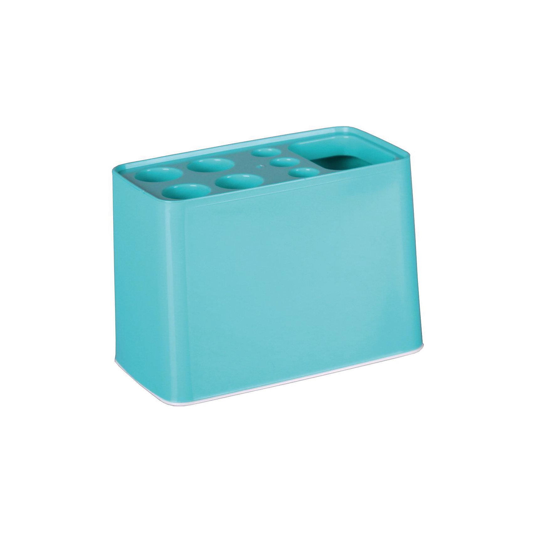 Подставка Дебют для зубных щёток, Alternativa, бирюзовыйХарактеристики:<br><br>• Предназначение: для хранения зубных щеток и зубной пасты<br>• Материал: пластик<br>• Цвет: бирюзовый<br>• Размер (Д*Ш*В): 29*26*26 см<br>• Форма: прямоугольный<br>• Особенности ухода: разрешается мыть теплой водой<br><br>Подставка Дебют для зубных щёток, Alternativa, бирюзовый изготовлена отечественным производителем ООО ЗПИ Альтернатива, который специализируется на выпуске широкого спектра изделий из пластика. Изделие выполнено из безопасного и прочного пластика, устойчивого к механическим повреждениям. Подставка имеет прямоугольныйольную форму, что обеспечивает ее компактный размер при высокой вместимости предметов: 4 больших и 3 маленьких отверстия для зубных щеток, также предусмотрено отверстие для хранения зубной пасты. Подставка оснащена съемным дном, благодаря чему изделие очень легкое в уходе. Подставка Дебют для зубных щёток, Alternativa, бирюзовый обеспечит порядок и сохранность зубных щеток в вашей ванной комнате.<br><br>Подставку Дебют для зубных щёток, Alternativa, бирюзовую можно купить в нашем интернет-магазине.<br><br>Ширина мм: 105<br>Глубина мм: 105<br>Высота мм: 125<br>Вес г: 76<br>Возраст от месяцев: 6<br>Возраст до месяцев: 588<br>Пол: Унисекс<br>Возраст: Детский<br>SKU: 5096654