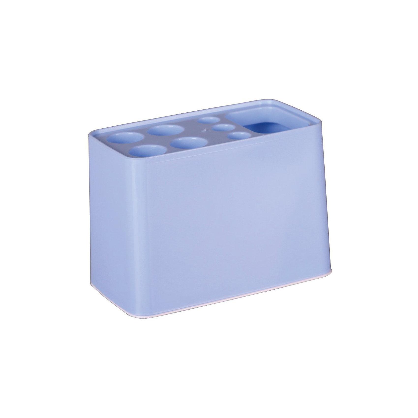 Подставка Дебют для зубных щёток, Alternativa, голубойВанная комната<br>Характеристики:<br><br>• Предназначение: для хранения зубных щеток и зубной пасты<br>• Материал: пластик<br>• Цвет: голубой<br>• Размер (Д*Ш*В): 29*26*26 см<br>• Форма: прямоугольный<br>• Особенности ухода: разрешается мыть теплой водой<br><br>Подставка Дебют для зубных щёток, Alternativa, голубой изготовлена отечественным производителем ООО ЗПИ Альтернатива, который специализируется на выпуске широкого спектра изделий из пластика. Изделие выполнено из безопасного и прочного пластика, устойчивого к механическим повреждениям. Подставка имеет прямоугольныйольную форму, что обеспечивает ее компактный размер при высокой вместимости предметов: 4 больших и 3 маленьких отверстия для зубных щеток, также предусмотрено отверстие для хранения зубной пасты. Подставка оснащена съемным дном, благодаря чему изделие очень легкое в уходе. Подставка Дебют для зубных щёток, Alternativa, голубой обеспечит порядок и сохранность зубных щеток в вашей ванной комнате.<br><br>Подставку Дебют для зубных щёток, Alternativa, голубую можно купить в нашем интернет-магазине.<br><br>Ширина мм: 105<br>Глубина мм: 105<br>Высота мм: 125<br>Вес г: 76<br>Возраст от месяцев: -2147483648<br>Возраст до месяцев: 2147483647<br>Пол: Мужской<br>Возраст: Детский<br>SKU: 5096655