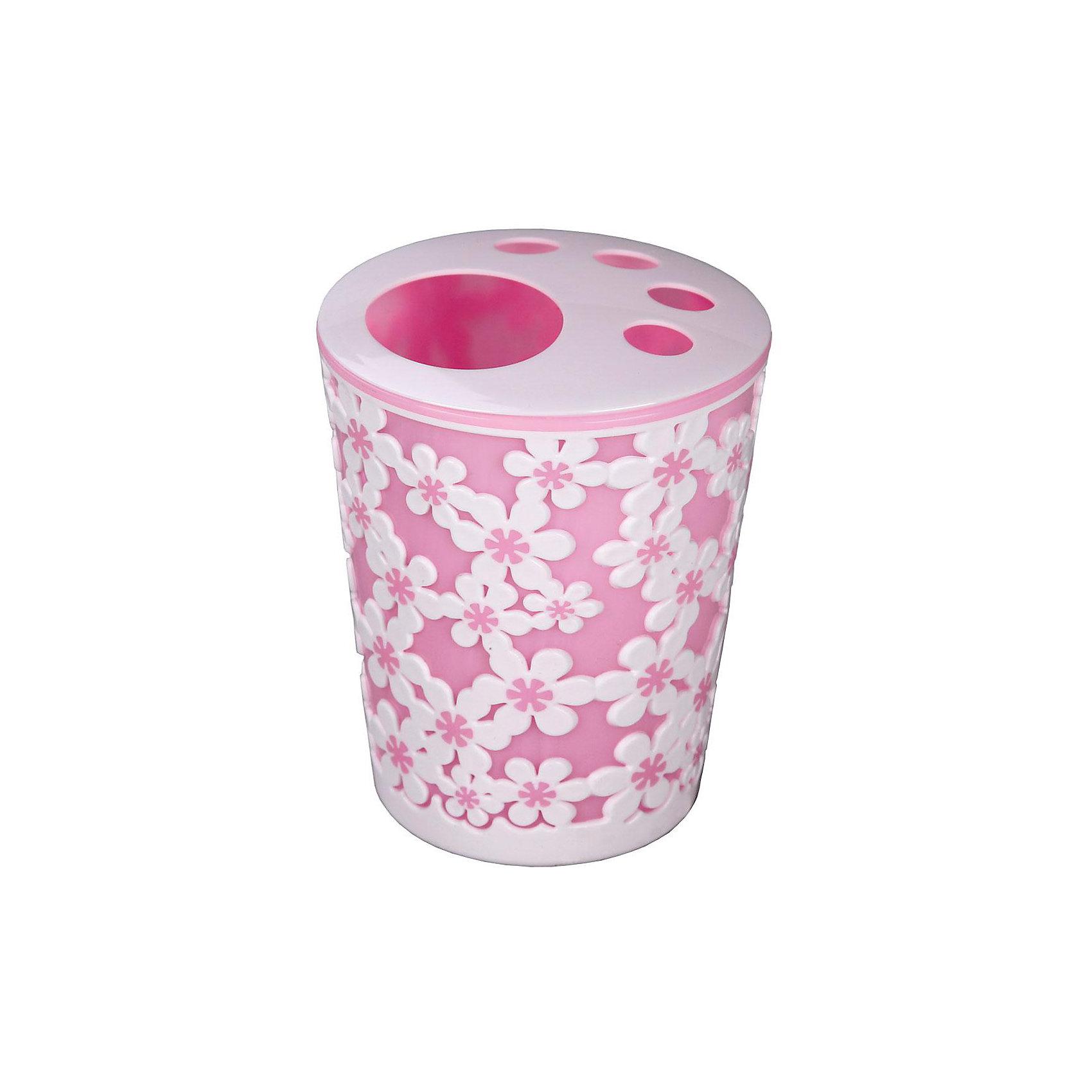 Подставка Дольче Вита для зубных щеток, Alternativa, розовый-белыйВанная комната<br>Характеристики:<br><br>• Предназначение: для хранения зубных щеток и зубной пасты<br>• Материал: пластик<br>• Цвет: розовый, белый<br>• Размер (Д*Ш*В): 10*10*13,5 см<br>• Объем: 0,7 л<br>• Форма: круглая<br>• Особенности ухода: разрешается мыть теплой водой<br><br>Подставка Дольче Вита для зубных щеток, Alternativa, розовый-белый изготовлена отечественным производителем ООО ЗПИ Альтернатива, который специализируется на выпуске широкого спектра изделий из пластика. Изделие выполнено из безопасного и прочного пластика, устойчивого к механическим повреждениям. Подставка имеет форму стаканчика, в ней предусмотрено 4 отверстия для зубных щеток и 1 для хранения зубной пасты. Стаканчик выполнен в розовом цвете, оформлен декором из белых крупных цветов. Подставка Дольче Вита для зубных щеток, Alternativa, розовый-белый обеспечит порядок и сохранность зубных щеток в вашей ванной комнате.<br><br>Подставку Дольче Вита для зубных щеток, Alternativa, розовую-белую можно купить в нашем интернет-магазине.<br><br>Ширина мм: 105<br>Глубина мм: 105<br>Высота мм: 125<br>Вес г: 87<br>Возраст от месяцев: -2147483648<br>Возраст до месяцев: 2147483647<br>Пол: Женский<br>Возраст: Детский<br>SKU: 5096657