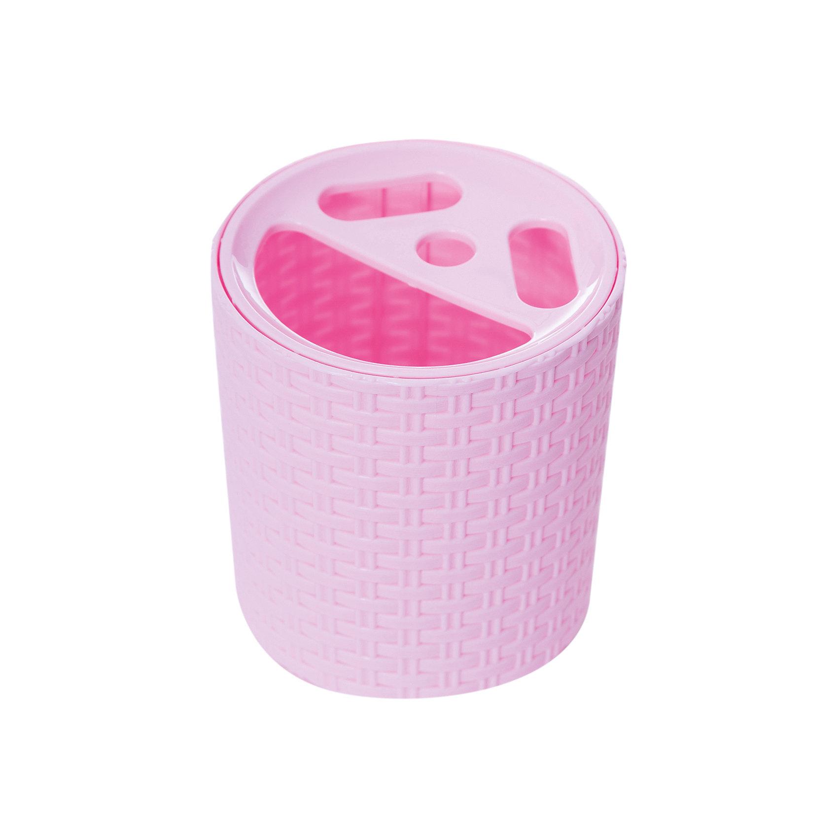 Подставка Плетёнка для зубных щёток , Alternativa, розовыйХарактеристики:<br><br>• Предназначение: для хранения зубных щеток и зубной пасты<br>• Материал: пластик<br>• Цвет: розовый<br>• Размер (Д*Ш*В): 10*10*12,3 см<br>• Форма: круглая<br>• Особенности ухода: разрешается мыть теплой водой<br><br>Подставка Плетёнка для зубных щеток, Alternativa, розовый изготовлена отечественным производителем ООО ЗПИ Альтернатива, который специализируется на выпуске широкого спектра изделий из пластика. Изделие выполнено из безопасного и прочного пластика, устойчивого к механическим повреждениям. Подставка имеет форму стаканчика, в ней предусмотрено 3 отверстия для зубных щеток и 1 для хранения зубной пасты. Стаканчик выполнен в розовом цвете, оформлен декором, имитирующим плетение из лозы. Подставка Плетёнка для зубных щеток, Alternativa, розовый обеспечит порядок и сохранность зубных щеток в вашей ванной комнате.<br><br>Подставку Плетёнка для зубных щеток, Alternativa, розовую можно купить в нашем интернет-магазине.<br><br>Ширина мм: 110<br>Глубина мм: 110<br>Высота мм: 125<br>Вес г: 96<br>Возраст от месяцев: -2147483648<br>Возраст до месяцев: 2147483647<br>Пол: Женский<br>Возраст: Детский<br>SKU: 5096662