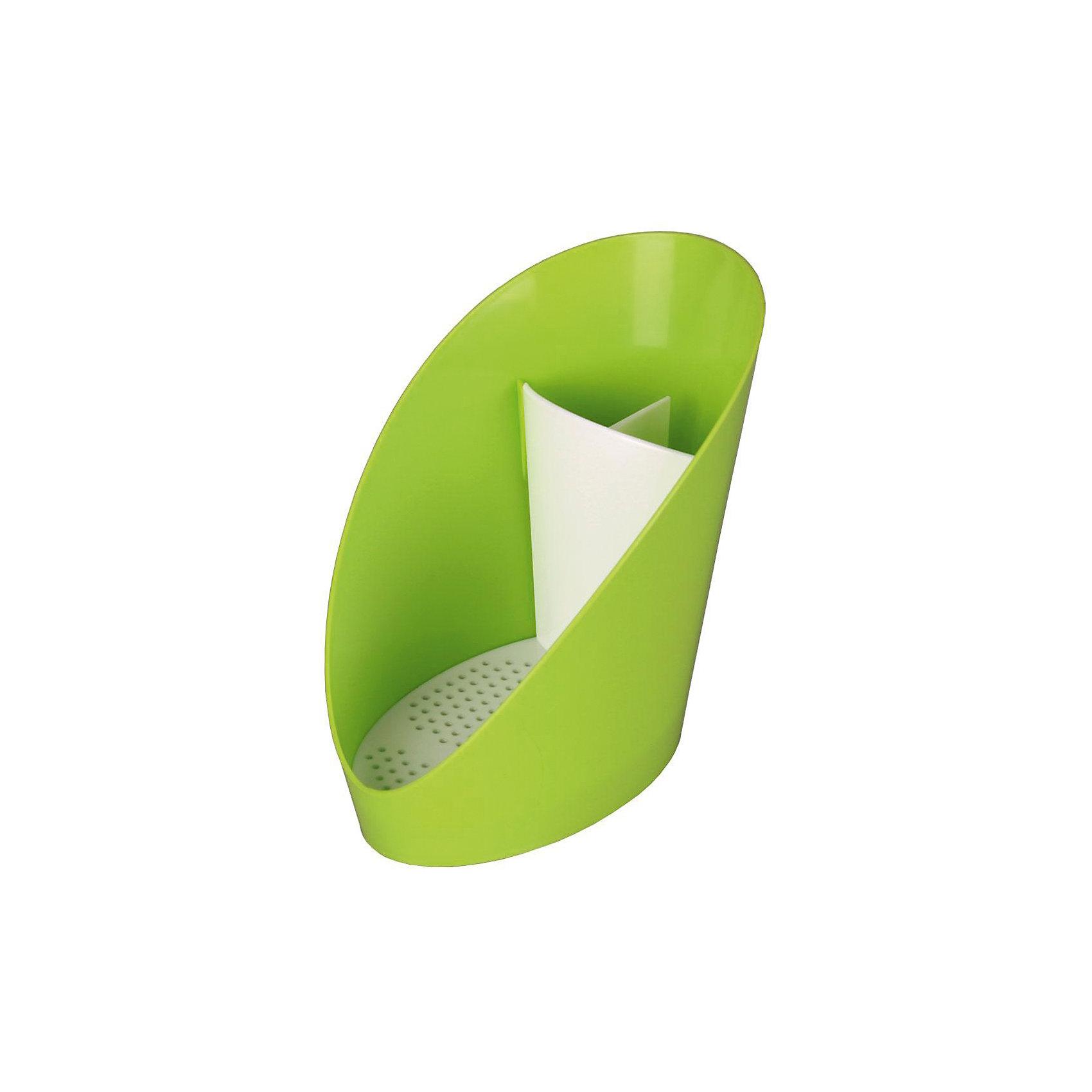Подставка для моющих средств Изыск, Alternativa, зеленыйВанная комната<br>Характеристики:<br><br>• Предназначение: для хранения моющих средств<br>• Материал: пластик<br>• Цвет: зеленый, белый<br>• Размер (Д*Ш*В): 48*24*38 см<br>• Форма: овальная<br>• Наличие съемного поддона<br>• Особенности ухода: разрешается мыть теплой водой<br><br>Подставка для моющих средств Изыск, Alternativa, зеленый изготовлена отечественным производителем ООО ЗПИ Альтернатива, который специализируется на выпуске широкого спектра изделий из пластика. Изделие выполнено из безопасного и прочного пластика, устойчивого к механическим повреждениям. Подставка имеет овальную форму оснащего съемным поддоном, благодаря которому изделие легко мыть. Поставка имеет три отсека. Внешний корпус выполнен в зеленом цвете, съемный поддон – белый. Подставка для моющих средств Изыск, Alternativa, зеленый обеспечит порядок на кухне и ванной комнате.<br><br>Подставку для моющих средств Изыск, Alternativa, зеленый можно купить в нашем интернет-магазине.<br><br>Ширина мм: 107<br>Глубина мм: 150<br>Высота мм: 145<br>Вес г: 83<br>Возраст от месяцев: 6<br>Возраст до месяцев: 588<br>Пол: Унисекс<br>Возраст: Детский<br>SKU: 5096665