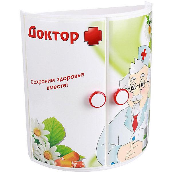 Полка для ванной  Доктор + (прямая), AlternativaАксессуары для ванны<br>Характеристики:<br><br>• Предназначение: для ванной<br>• Материал: пластик<br>• Цвет: красный, белый, зеленый<br>• Размер (Д*Ш*В): 32,5*17,5*38,5 см<br>• Форма: прямоугольный<br>• Наличие 3-х полок и дверц<br>• Особенности ухода: разрешается мыть теплой водой<br><br>Полка для ванной Доктор + (прямая), Alternativa изготовлена отечественным производителем ООО ЗПИ Альтернатива, который специализируется на выпуске широкого спектра изделий из пластика. Изделие выполнено из безопасного и прочного пластика, устойчивого к механическим повреждениям. Полка имеет прямоугольныйольную форму, 3 полки и две дверцы. Дверцы оформлены ярким рисунком медицинской тематики. Полка для ванной Доктор + (прямая), Alternativa может не только обеспечить порядок на кухне, но и стать ярким предметом в детской комнате. <br><br>Полку для ванной Доктор + (прямая), Alternativa можно купить в нашем интернет-магазине.<br>Ширина мм: 330; Глубина мм: 170; Высота мм: 380; Вес г: 1135; Возраст от месяцев: 6; Возраст до месяцев: 588; Пол: Унисекс; Возраст: Детский; SKU: 5096667;