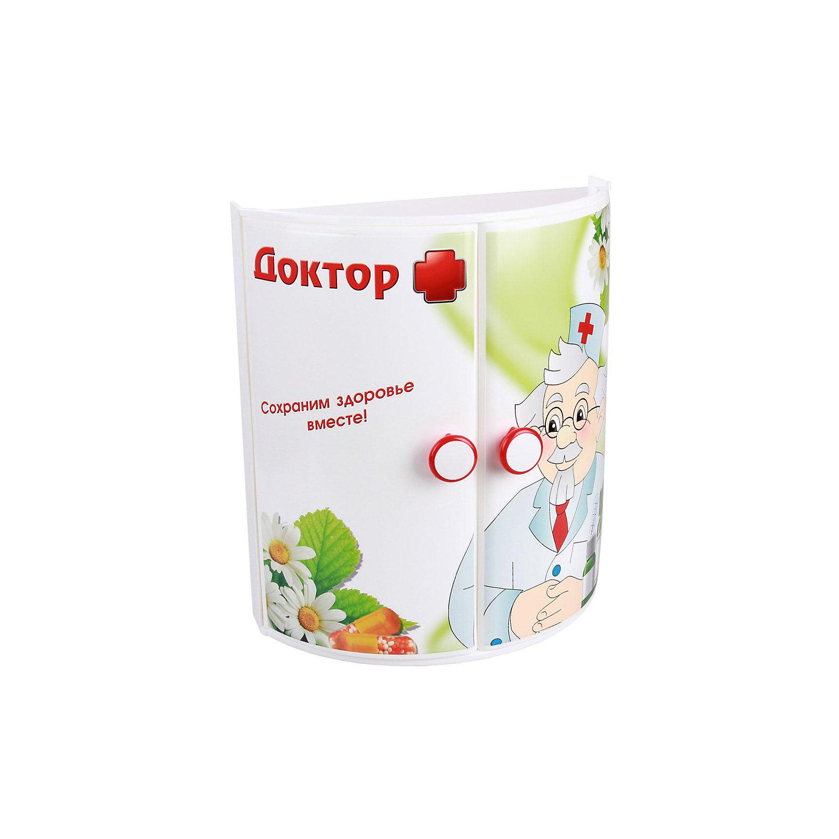 Полка для ванной  Доктор + (прямая), AlternativaВанная комната<br>Характеристики:<br><br>• Предназначение: для ванной<br>• Материал: пластик<br>• Цвет: красный, белый, зеленый<br>• Размер (Д*Ш*В): 32,5*17,5*38,5 см<br>• Форма: прямоугольный<br>• Наличие 3-х полок и дверц<br>• Особенности ухода: разрешается мыть теплой водой<br><br>Полка для ванной Доктор + (прямая), Alternativa изготовлена отечественным производителем ООО ЗПИ Альтернатива, который специализируется на выпуске широкого спектра изделий из пластика. Изделие выполнено из безопасного и прочного пластика, устойчивого к механическим повреждениям. Полка имеет прямоугольныйольную форму, 3 полки и две дверцы. Дверцы оформлены ярким рисунком медицинской тематики. Полка для ванной Доктор + (прямая), Alternativa может не только обеспечить порядок на кухне, но и стать ярким предметом в детской комнате. <br><br>Полку для ванной Доктор + (прямая), Alternativa можно купить в нашем интернет-магазине.<br><br>Ширина мм: 330<br>Глубина мм: 170<br>Высота мм: 380<br>Вес г: 1135<br>Возраст от месяцев: 6<br>Возраст до месяцев: 588<br>Пол: Унисекс<br>Возраст: Детский<br>SKU: 5096667
