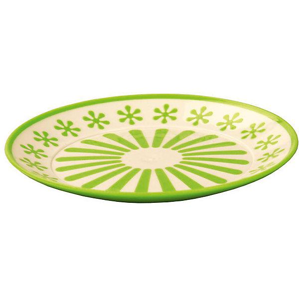 Тарелка Валенсия, Alternativa, салатовый-белыйДетская посуда<br>Характеристики:<br><br>• Предназначение: для пищевых продуктов<br>• Материал: пластик<br>• Цвет: салатовый, белый<br>• Размер (Д*Ш*В):  19*19*20 см<br>• Особенности ухода: разрешается мыть<br><br>Тарелка Валенсия, Alternativa, салатовый-белый изготовлена отечественным производителем ООО ЗПИ Альтернатива, который специализируется на выпуске широкого спектра изделий и предметов мебели из пластика. Тарелка выполнена из экологически безопасного пищевого пластика, устойчивого к механическим повреждениям и изменению цвета. Ее можно использовать для холодных пищевых продуктов, в качестве вазы для фруктов или кондитерских изделий.Тарелка выполнена в ярком дизайне. Изделие имеет компактный размер и легкий вес, поэтому его удобно брать с собой на природу и дачу. <br><br>Тарелку Валенсия, Alternativa, салатовый-белый можно купить в нашем интернет-магазине.<br><br>Ширина мм: 190<br>Глубина мм: 190<br>Высота мм: 2<br>Вес г: 74<br>Возраст от месяцев: 36<br>Возраст до месяцев: 84<br>Пол: Унисекс<br>Возраст: Детский<br>SKU: 5096703