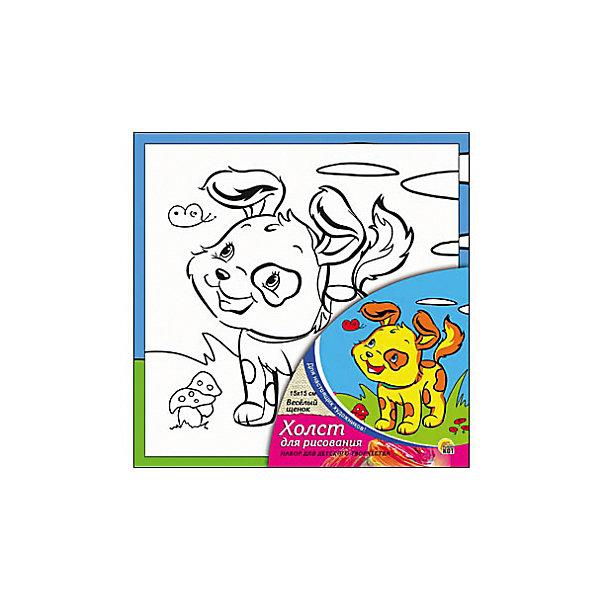 Холст с красками Весёлый щенок 15х15 см.Раскраски по номерам<br>замечательные наборы для создания уникального шедевра изобразительного искусства. Создание картин на специально подготовленной рабочей поверхности – это уникальная техника, позволяющая делать Ваши шедевры более яркими и реалистичными. Просто нанесите мазки на уже готовый эскиз и оживите картину! Готовые изделия могут стать украшением интерьера или прекрасным подарком близким и друзьям.<br><br>Ширина мм: 150<br>Глубина мм: 150<br>Высота мм: 15<br>Вес г: 838<br>Возраст от месяцев: 36<br>Возраст до месяцев: 108<br>Пол: Унисекс<br>Возраст: Детский<br>SKU: 5096731
