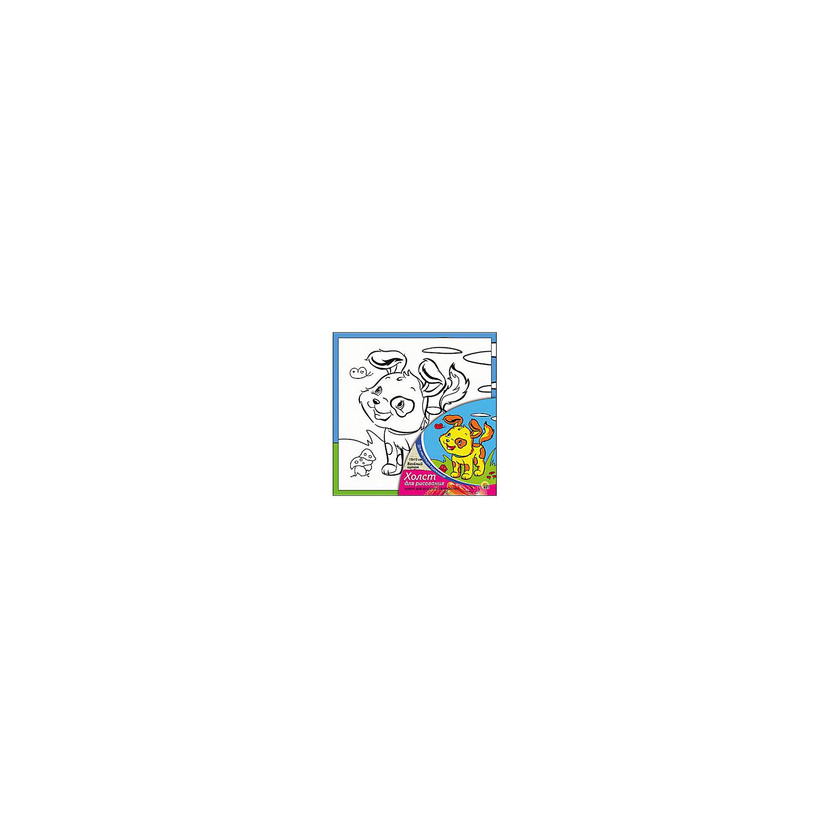 Холст с красками Весёлый щенок 15х15 см.замечательные наборы для создания уникального шедевра изобразительного искусства. Создание картин на специально подготовленной рабочей поверхности – это уникальная техника, позволяющая делать Ваши шедевры более яркими и реалистичными. Просто нанесите мазки на уже готовый эскиз и оживите картину! Готовые изделия могут стать украшением интерьера или прекрасным подарком близким и друзьям.<br><br>Ширина мм: 150<br>Глубина мм: 150<br>Высота мм: 15<br>Вес г: 838<br>Возраст от месяцев: 36<br>Возраст до месяцев: 108<br>Пол: Унисекс<br>Возраст: Детский<br>SKU: 5096731