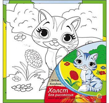 Рыжий кот Холст с красками Котёнок 15х15 см