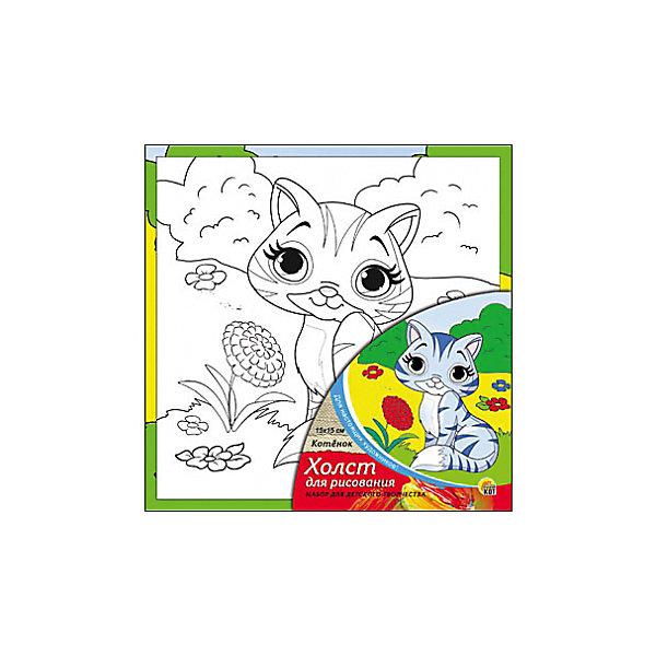 Холст с красками Котёнок 15х15 смРаскраски по номерам<br>замечательные наборы для создания уникального шедевра изобразительного искусства. Создание картин на специально подготовленной рабочей поверхности – это уникальная техника, позволяющая делать Ваши шедевры более яркими и реалистичными. Просто нанесите мазки на уже готовый эскиз и оживите картину! Готовые изделия могут стать украшением интерьера или прекрасным подарком близким и друзьям.<br>Ширина мм: 150; Глубина мм: 150; Высота мм: 15; Вес г: 838; Возраст от месяцев: 36; Возраст до месяцев: 108; Пол: Унисекс; Возраст: Детский; SKU: 5096733;
