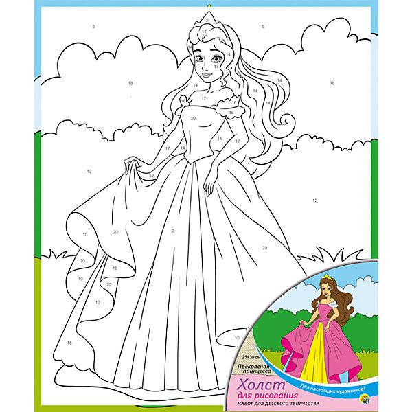 Холст с красками по номерам Прекрасная принцесса 25х30 смРаскраски по номерам<br>Холст с красками по номерам Прекрасная принцесса 25х30 см<br><br>Характеристики:<br><br>- в набор входит: холст с картинкой, акриловые краски 7 цветов, 1 кисть<br>- состав: дерево, холст, краска <br>- размер упаковки: 30 * 1,5 * 25 см.<br>- для детей в возрасте: от 3 до 6 лет<br>- страна производитель: Россия<br><br>Прекрасный набор для живописи по номерам. Картинка разделена на контурные участки для раскрашивания, картинка-инструкция подсказывает какой цвет нужно наносить. Стойкие акриловые краски отлично ложатся на холст и выглядят очень профессионально. Нежный летний рисунок привнесет атмосферу тепла и радости. Выполнение рисунка может быть кропотливой работой, но результат превзойдет все ожидания, ведь ребенок сможет выполнить личный шедевр. Работая с таким набором ребенок развивает моторику рук, воображение, усидчивость, аккуратность и внимание.<br><br>Холст с красками по номерам Прекрасная принцесса 25х30 см. можно купить в нашем интернет-магазине.<br>Ширина мм: 200; Глубина мм: 300; Высота мм: 15; Вес г: 1000; Возраст от месяцев: 36; Возраст до месяцев: 108; Пол: Женский; Возраст: Детский; SKU: 5096744;