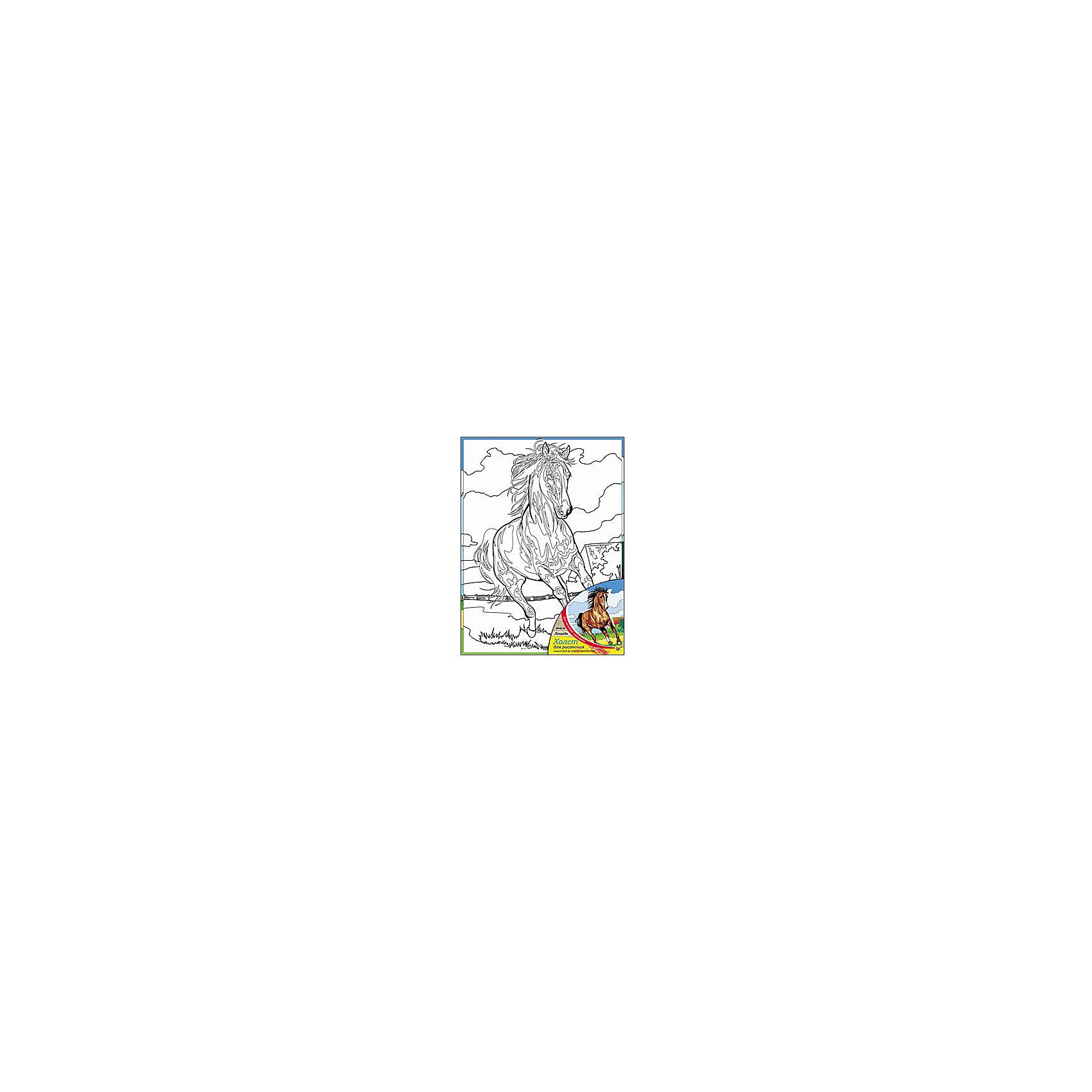 Холст с красками Лошадь 30х40 смРисование<br>замечательные наборы для создания уникального шедевра изобразительного искусства. Создание картин на специально подготовленной рабочей поверхности – это уникальная техника, позволяющая делать Ваши шедевры более яркими и реалистичными. Просто нанесите мазки на уже готовый эскиз и оживите картину! Готовые изделия могут стать украшением интерьера или прекрасным подарком близким и друзьям.<br><br>Ширина мм: 300<br>Глубина мм: 400<br>Высота мм: 15<br>Вес г: 733<br>Возраст от месяцев: 36<br>Возраст до месяцев: 108<br>Пол: Унисекс<br>Возраст: Детский<br>SKU: 5096748