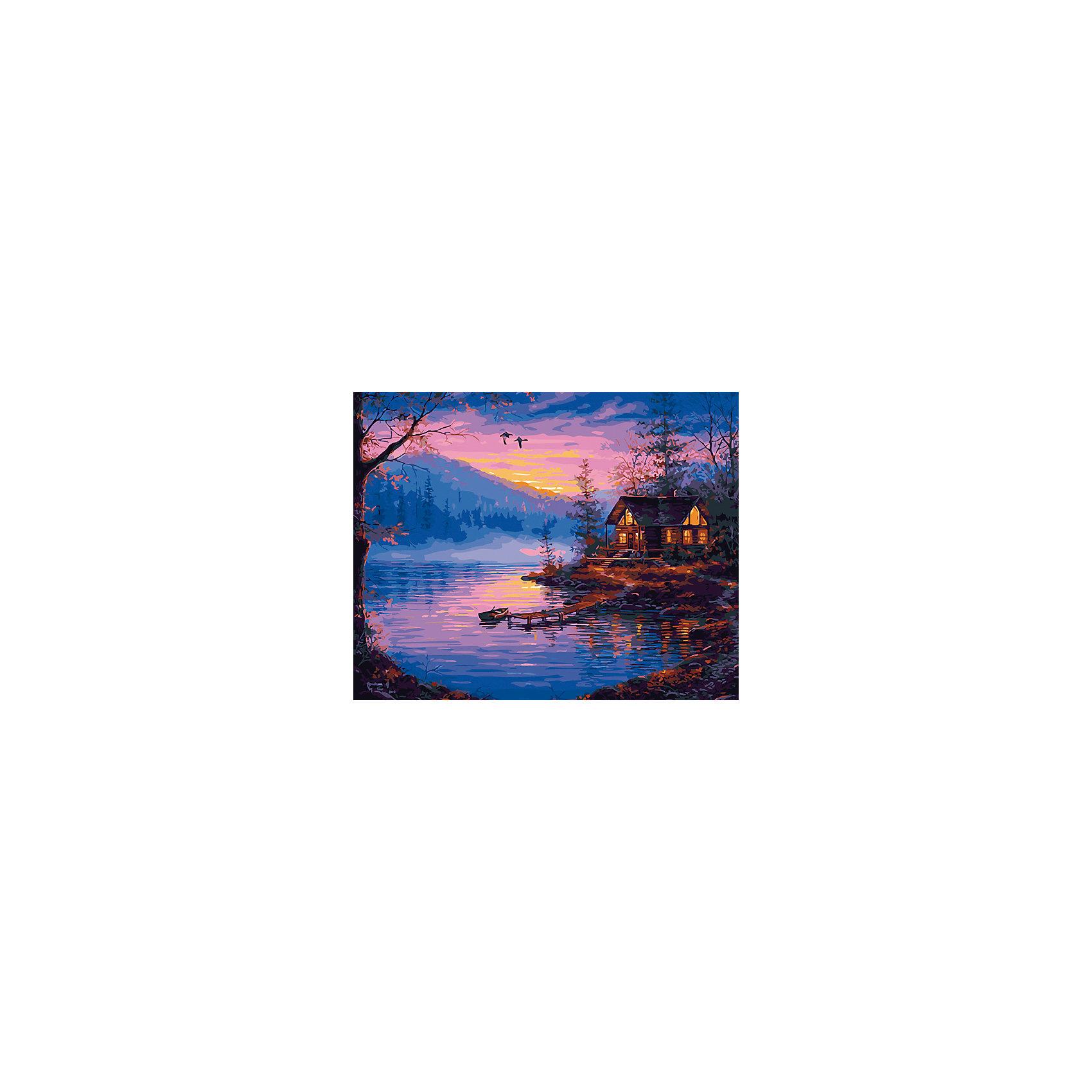 Холст с красками по номерам Закат на озере 40х50 смзамечательные наборы для создания уникального шедевра изобразительного искусства. Создание картин на специально подготовленной рабочей поверхности – это уникальная техника, позволяющая делать Ваши шедевры более яркими и реалистичными. Просто нанесите мазки на уже готовый эскиз и оживите картину! Готовые изделия могут стать украшением интерьера или прекрасным подарком близким и друзьям.<br><br>Ширина мм: 510<br>Глубина мм: 410<br>Высота мм: 25<br>Вес г: 900<br>Возраст от месяцев: 36<br>Возраст до месяцев: 108<br>Пол: Унисекс<br>Возраст: Детский<br>SKU: 5096766