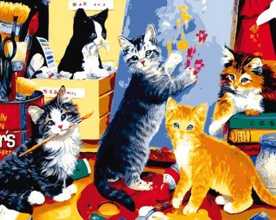Рыжий кот Холст с красками по номерам Игривые котята 40х50 см