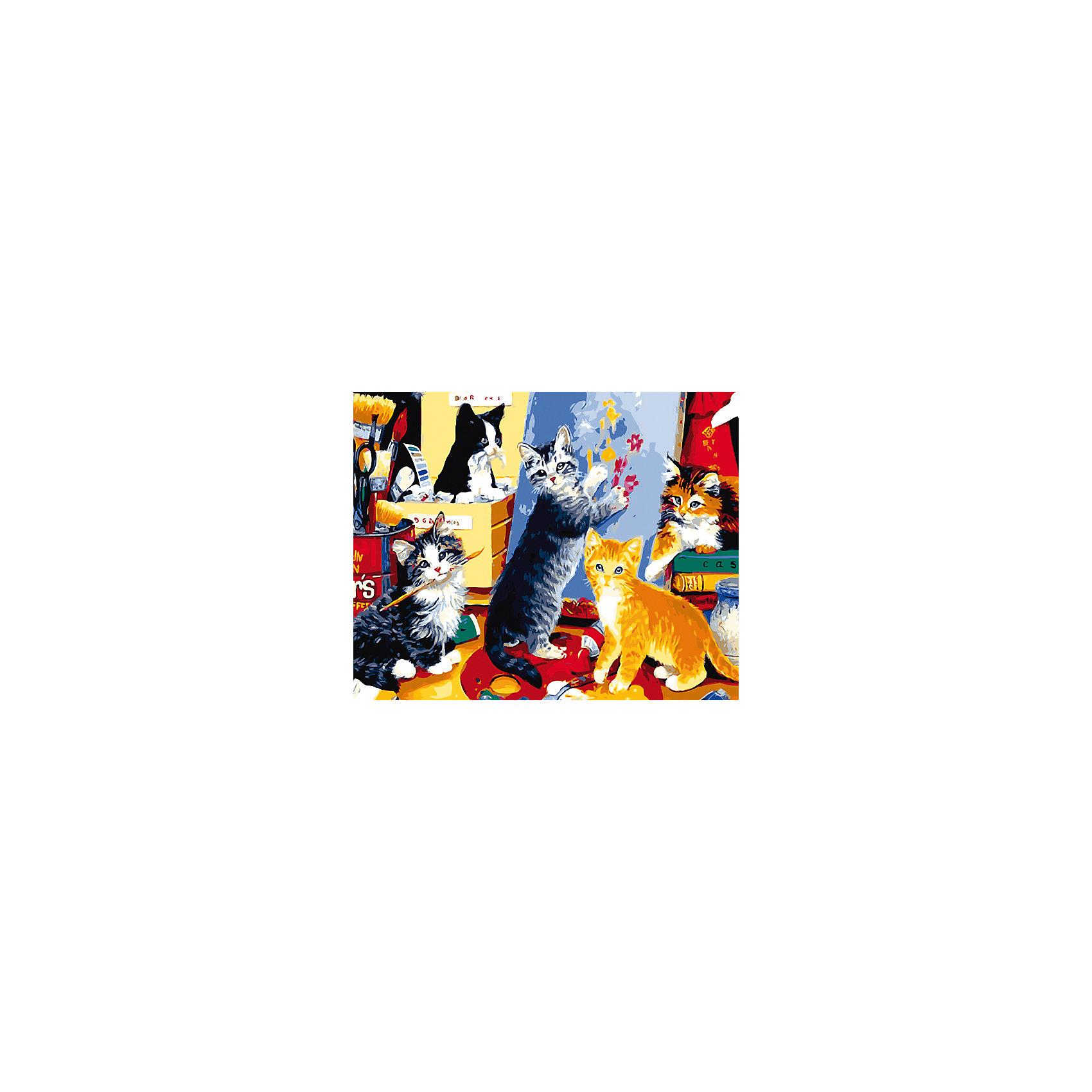 Холст с красками по номерам Игривые котята 40х50 смРисование<br>замечательные наборы для создания уникального шедевра изобразительного искусства. Создание картин на специально подготовленной рабочей поверхности – это уникальная техника, позволяющая делать Ваши шедевры более яркими и реалистичными. Просто нанесите мазки на уже готовый эскиз и оживите картину! Готовые изделия могут стать украшением интерьера или прекрасным подарком близким и друзьям.<br><br>Ширина мм: 510<br>Глубина мм: 410<br>Высота мм: 25<br>Вес г: 900<br>Возраст от месяцев: 36<br>Возраст до месяцев: 108<br>Пол: Унисекс<br>Возраст: Детский<br>SKU: 5096769