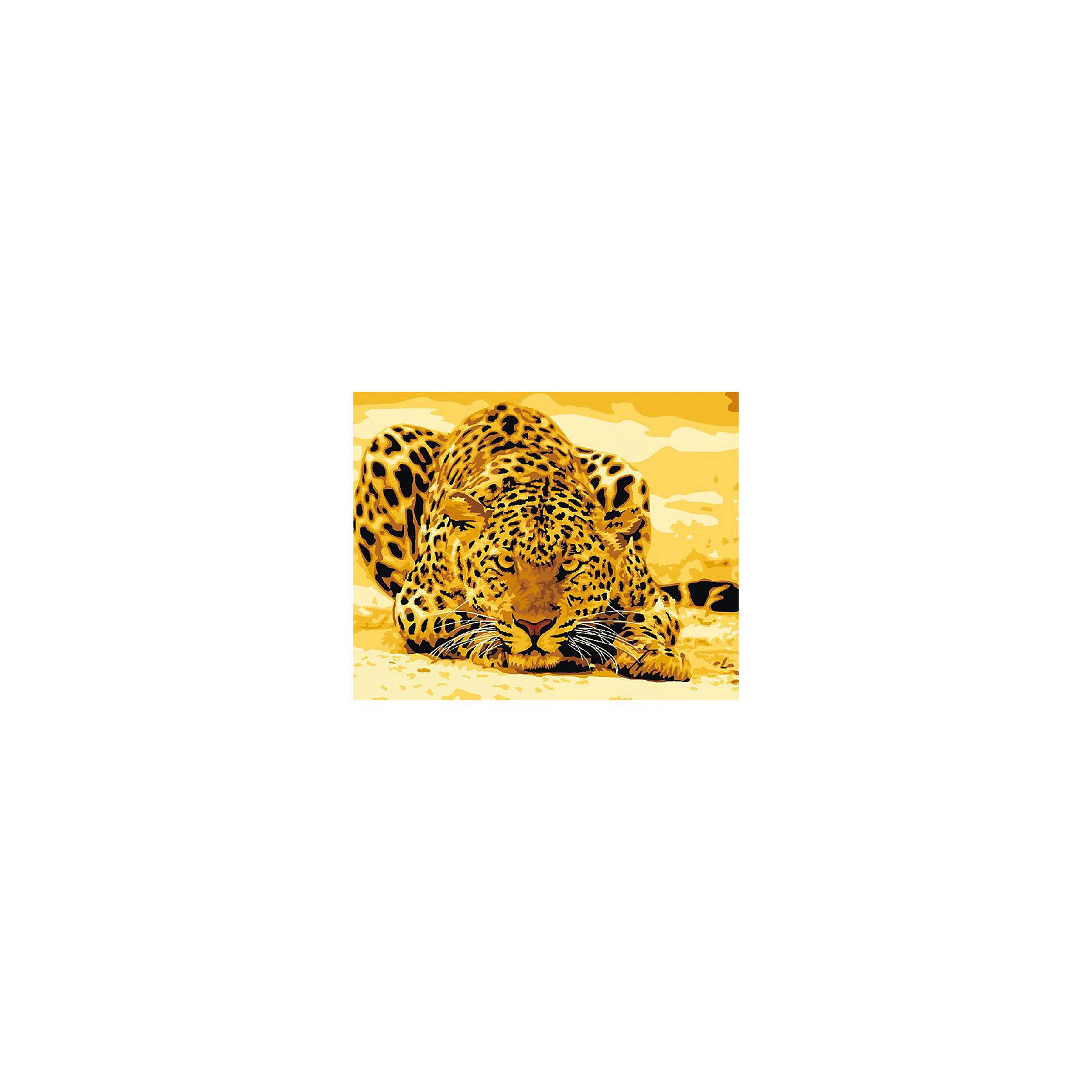 Холст с красками по номерам Леопард на охоте 40х50 смРисование<br>замечательные наборы для создания уникального шедевра изобразительного искусства. Создание картин на специально подготовленной рабочей поверхности – это уникальная техника, позволяющая делать Ваши шедевры более яркими и реалистичными. Просто нанесите мазки на уже готовый эскиз и оживите картину! Готовые изделия могут стать украшением интерьера или прекрасным подарком близким и друзьям.<br><br>Ширина мм: 510<br>Глубина мм: 410<br>Высота мм: 25<br>Вес г: 900<br>Возраст от месяцев: 36<br>Возраст до месяцев: 108<br>Пол: Унисекс<br>Возраст: Детский<br>SKU: 5096773