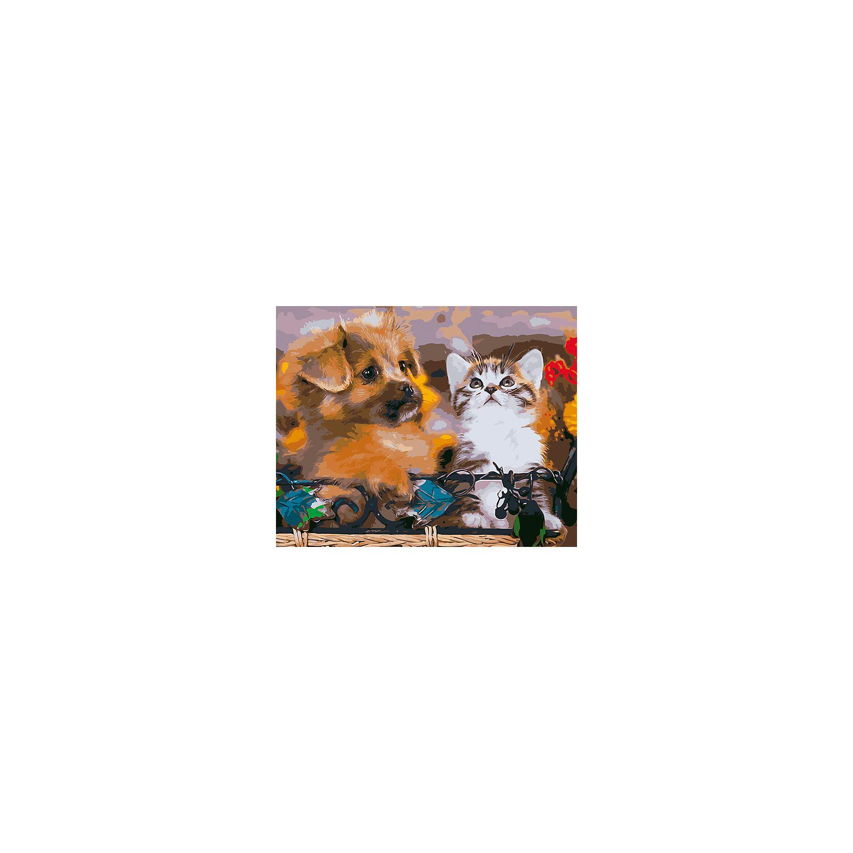 Холст с красками по номерам Пушистые друзья 40х50 смРисование<br>замечательные наборы для создания уникального шедевра изобразительного искусства. Создание картин на специально подготовленной рабочей поверхности – это уникальная техника, позволяющая делать Ваши шедевры более яркими и реалистичными. Просто нанесите мазки на уже готовый эскиз и оживите картину! Готовые изделия могут стать украшением интерьера или прекрасным подарком близким и друзьям.<br><br>Ширина мм: 510<br>Глубина мм: 410<br>Высота мм: 25<br>Вес г: 900<br>Возраст от месяцев: 36<br>Возраст до месяцев: 108<br>Пол: Унисекс<br>Возраст: Детский<br>SKU: 5096780
