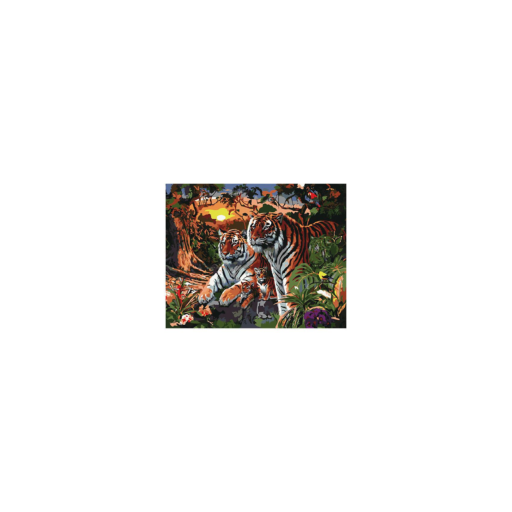 Холст с красками по номерам Семья Тигров 40х50 смРисование<br>замечательные наборы для создания уникального шедевра изобразительного искусства. Создание картин на специально подготовленной рабочей поверхности – это уникальная техника, позволяющая делать Ваши шедевры более яркими и реалистичными. Просто нанесите мазки на уже готовый эскиз и оживите картину! Готовые изделия могут стать украшением интерьера или прекрасным подарком близким и друзьям.<br><br>Ширина мм: 510<br>Глубина мм: 410<br>Высота мм: 25<br>Вес г: 1800<br>Возраст от месяцев: 36<br>Возраст до месяцев: 108<br>Пол: Унисекс<br>Возраст: Детский<br>SKU: 5096786