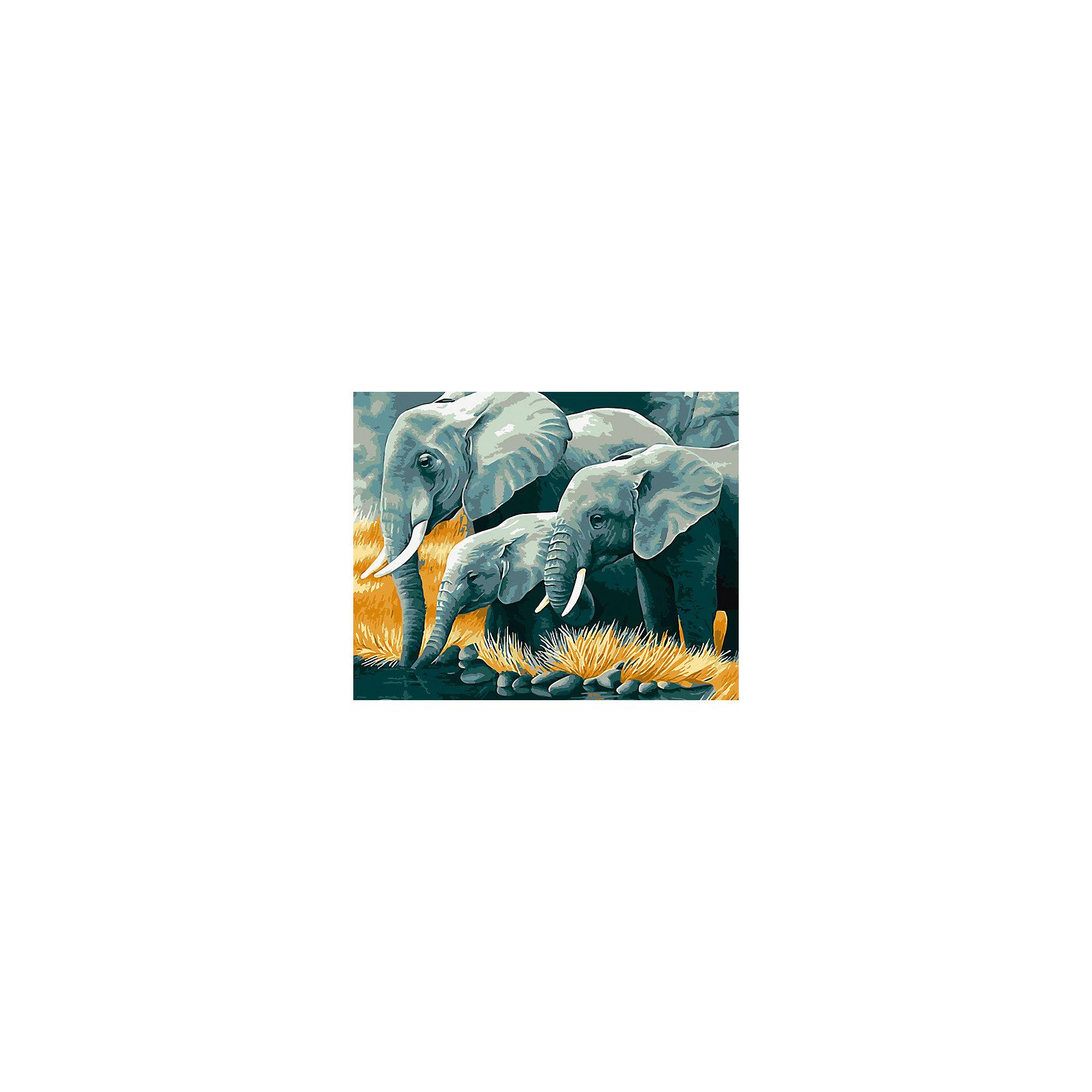 Холст с красками по номерам Слоны на водопое 40х50 смзамечательные наборы для создания уникального шедевра изобразительного искусства. Создание картин на специально подготовленной рабочей поверхности – это уникальная техника, позволяющая делать Ваши шедевры более яркими и реалистичными. Просто нанесите мазки на уже готовый эскиз и оживите картину! Готовые изделия могут стать украшением интерьера или прекрасным подарком близким и друзьям.<br><br>Ширина мм: 510<br>Глубина мм: 410<br>Высота мм: 25<br>Вес г: 1800<br>Возраст от месяцев: 36<br>Возраст до месяцев: 108<br>Пол: Унисекс<br>Возраст: Детский<br>SKU: 5096787
