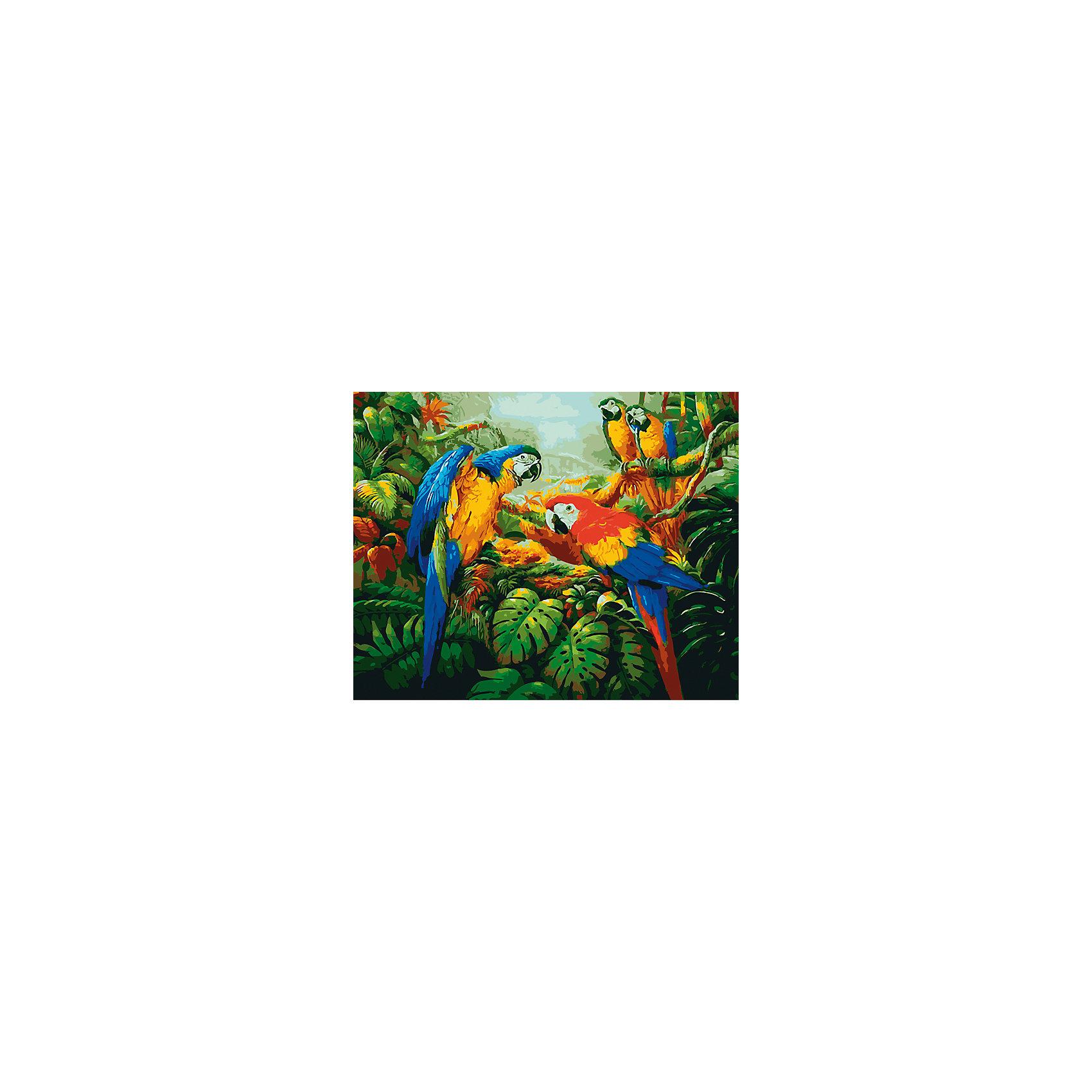 Холст с красками по номерам Яркие попугаи 40х50 смРисование<br>замечательные наборы для создания уникального шедевра изобразительного искусства. Создание картин на специально подготовленной рабочей поверхности – это уникальная техника, позволяющая делать Ваши шедевры более яркими и реалистичными. Просто нанесите мазки на уже готовый эскиз и оживите картину! Готовые изделия могут стать украшением интерьера или прекрасным подарком близким и друзьям.<br><br>Ширина мм: 510<br>Глубина мм: 410<br>Высота мм: 25<br>Вес г: 1800<br>Возраст от месяцев: 36<br>Возраст до месяцев: 108<br>Пол: Унисекс<br>Возраст: Детский<br>SKU: 5096790