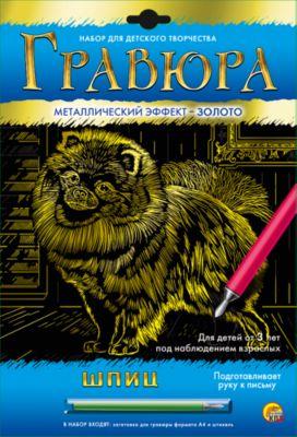 Рыжий кот Гравюра А4 в конверте Шпиц (золото)