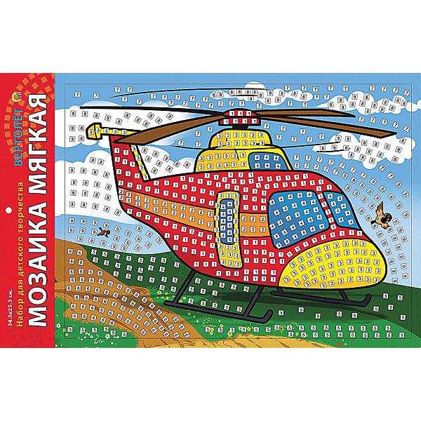 Мягкая мозаика Вертолет, формат А3 (34.5х25 см)Мозаика детская<br>Замечательный набор для детского творчества серии Мягкая мозаика станет прекрасным подарком для Вашего ребёнка, ведь он развивает творческие способности, мелкую моторику рук, цветовосприятие, внимание и художественный вкус! Малышу просто необходимо приклеить к пронумерованным областям на картинке детали соответствующих цветов. Набор привлекает ярким красивым дизайном и выполнен из безопасных материалов. Предназначено для детей в возрасте от 3-х лет.<br>Ширина мм: 225; Глубина мм: 30; Высота мм: 180; Вес г: 450; Возраст от месяцев: 0; Возраст до месяцев: 108; Пол: Унисекс; Возраст: Детский; SKU: 5096851;