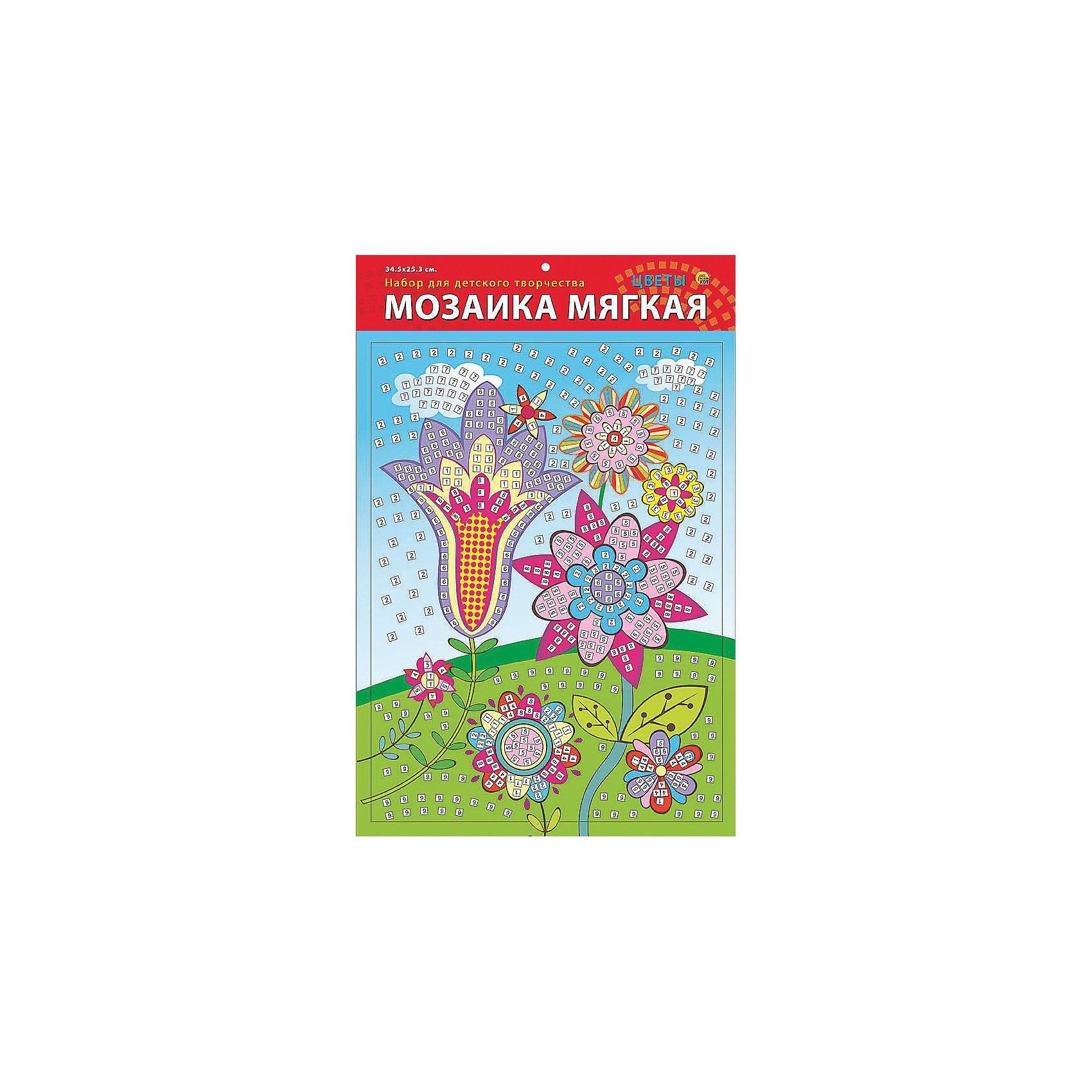 Мягкая мозаика Цветы формат А3 (34.5х25 см)Замечательный набор для детского творчества серии Мягкая мозаика станет прекрасным подарком для Вашего ребёнка, ведь он развивает творческие способности, мелкую моторику рук, цветовосприятие, внимание и художественный вкус! Малышу просто необходимо приклеить к пронумерованным областям на картинке детали соответствующих цветов. Набор привлекает ярким красивым дизайном и выполнен из безопасных материалов. Предназначено для детей в возрасте от 3-х лет.<br><br>Ширина мм: 225<br>Глубина мм: 30<br>Высота мм: 180<br>Вес г: 450<br>Возраст от месяцев: 0<br>Возраст до месяцев: 108<br>Пол: Унисекс<br>Возраст: Детский<br>SKU: 5096852