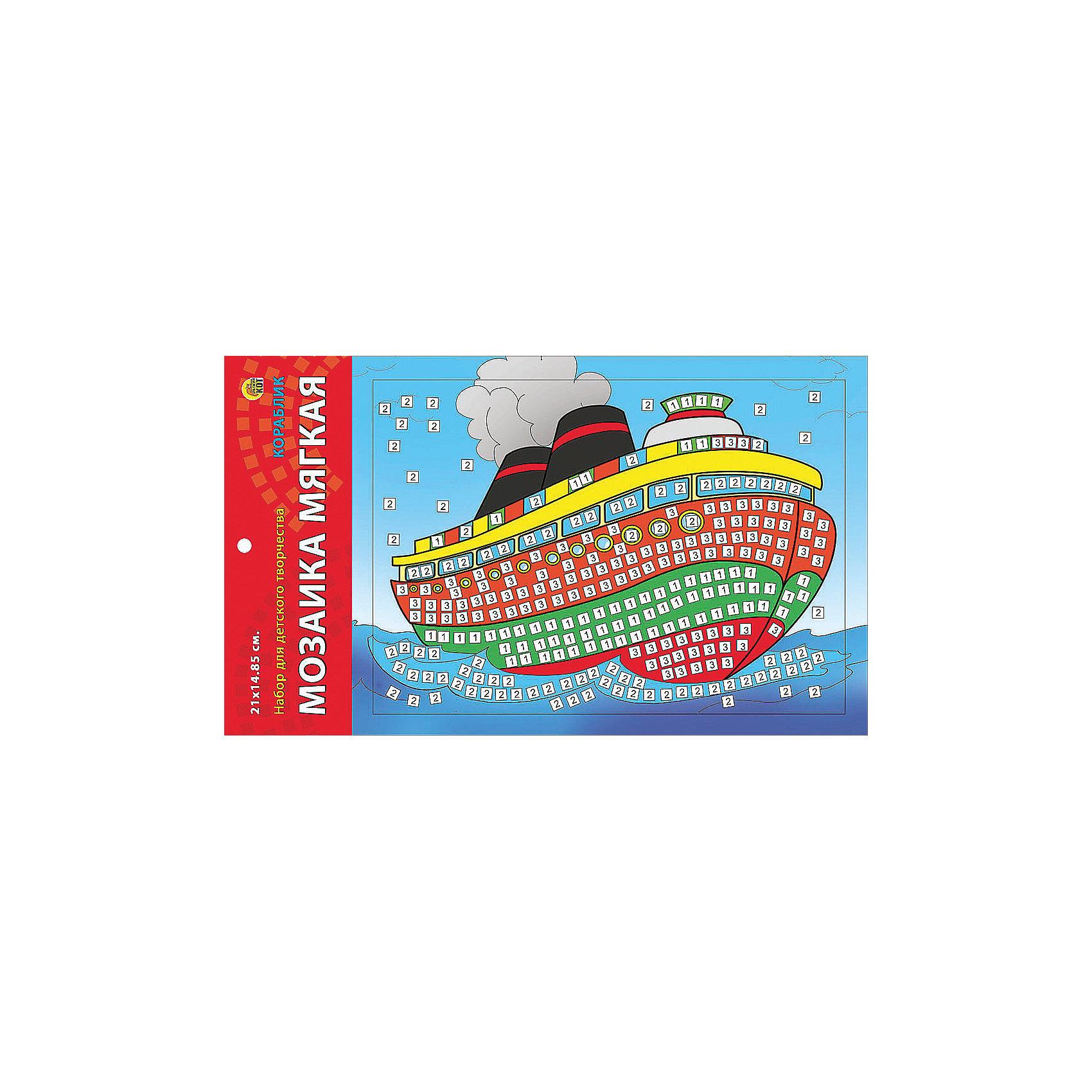Мягкая мозаика Кораблик формат А5 (21х15 см)Замечательный набор для детского творчества серии Мягкая мозаика станет прекрасным подарком для Вашего ребёнка, ведь он развивает творческие способности, мелкую моторику рук, цветовосприятие, внимание и художественный вкус! Малышу просто необходимо приклеить к пронумерованным областям на картинке детали соответствующих цветов. Набор привлекает ярким красивым дизайном и выполнен из безопасных материалов. Предназначено для детей в возрасте от 3-х лет.<br><br>Ширина мм: 350<br>Глубина мм: 50<br>Высота мм: 225<br>Вес г: 450<br>Возраст от месяцев: 0<br>Возраст до месяцев: 108<br>Пол: Унисекс<br>Возраст: Детский<br>SKU: 5096861