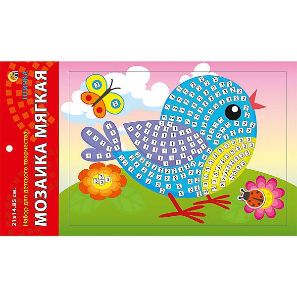 Мягкая мозаика Птичка формат А5 (21х15 см)Мозаика детская<br>Замечательный набор для детского творчества серии Мягкая мозаика станет прекрасным подарком для Вашего ребёнка, ведь он развивает творческие способности, мелкую моторику рук, цветовосприятие, внимание и художественный вкус! Малышу просто необходимо приклеить к пронумерованным областям на картинке детали соответствующих цветов. Набор привлекает ярким красивым дизайном и выполнен из безопасных материалов. Предназначено для детей в возрасте от 3-х лет.<br><br>Ширина мм: 350<br>Глубина мм: 50<br>Высота мм: 225<br>Вес г: 450<br>Возраст от месяцев: 0<br>Возраст до месяцев: 108<br>Пол: Унисекс<br>Возраст: Детский<br>SKU: 5096869