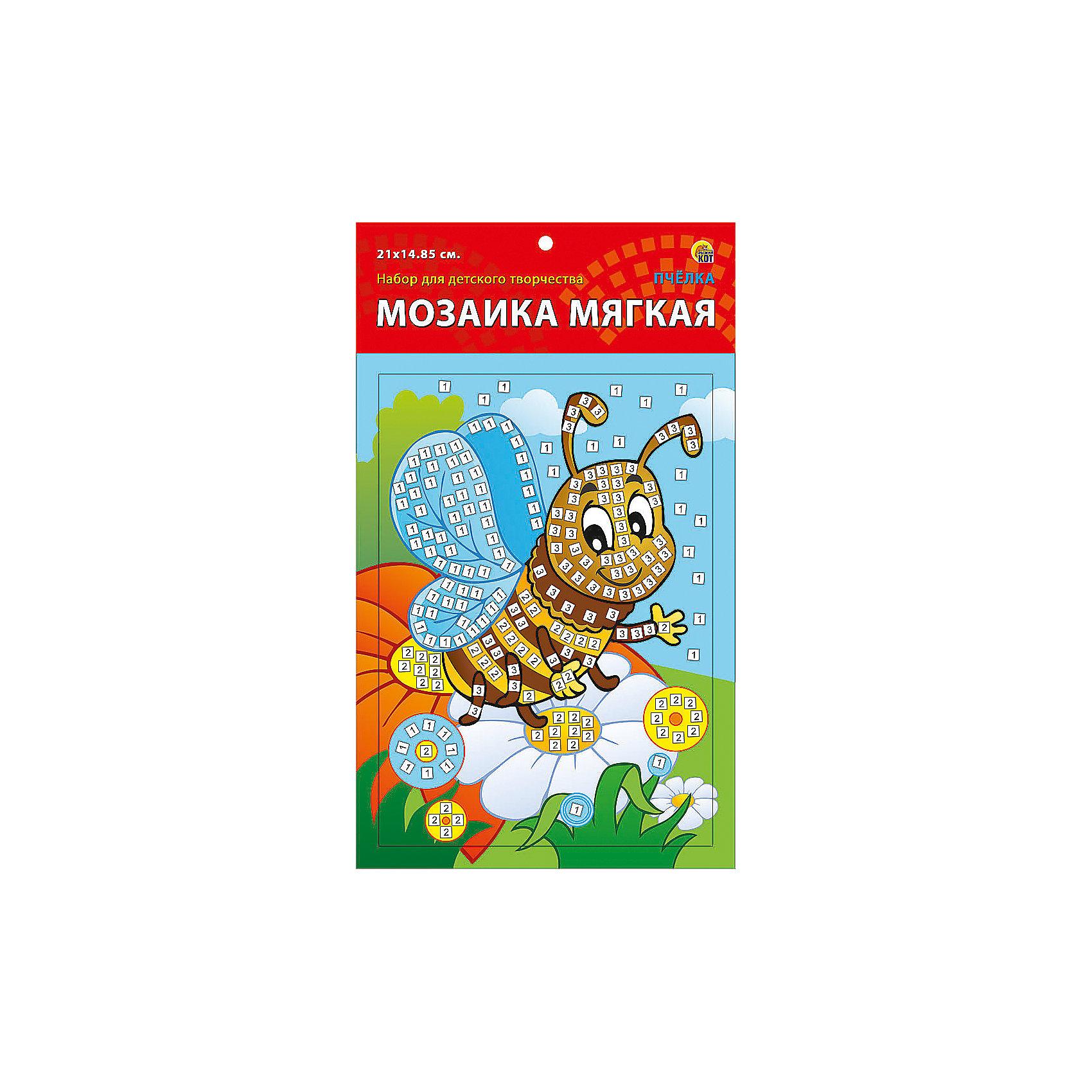 Мягкая мозаика Пчелка формат А5 (21х15 см)Замечательный набор для детского творчества серии Мягкая мозаика станет прекрасным подарком для Вашего ребёнка, ведь он развивает творческие способности, мелкую моторику рук, цветовосприятие, внимание и художественный вкус! Малышу просто необходимо приклеить к пронумерованным областям на картинке детали соответствующих цветов. Набор привлекает ярким красивым дизайном и выполнен из безопасных материалов. Предназначено для детей в возрасте от 3-х лет.<br><br>Ширина мм: 350<br>Глубина мм: 50<br>Высота мм: 225<br>Вес г: 450<br>Возраст от месяцев: 0<br>Возраст до месяцев: 108<br>Пол: Унисекс<br>Возраст: Детский<br>SKU: 5096870