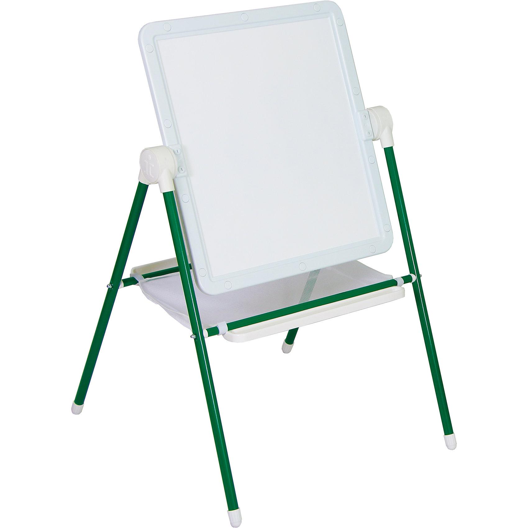 Детский двухсторонний мольберт (зеленый с белым)Мебель<br>Детский двухсторонний мольберт (зеленый с белым).<br><br>Характеристики:<br><br>- Внимание: буквы и цифры приобретаются отдельно.<br>- Размер рабочей поверхности: 521х462 мм.<br>- Высота мольберта (при вертикальном положении экрана): 1032 ±2мм.<br>- Материал: пластик, металл<br>- Цвет: белый, зеленый<br>- Размер упаковки: 720х610х100 мм.<br>- Вес: 1112 гр.<br><br>Мольберт с 2 магнитными поверхностями - это лучший помощник в игре и учебе. На нем удобно размещать магнитные фигуры и буквы алфавита. Уникальная конструкция мольберта позволяет менять угол наклона экрана - для еще большего комфорта юных художников! Белая сторона экрана (доски) служит для нанесения надписей маркерами на водной основе. Черная сторона – для нанесения надписей мягкими мелками. К стойкам мольберта устанавливаются два лотка для канцелярских принадлежностей – мелки, маркеры, карандаши всегда будут под рукой! Имеется вместительный бокс-сетка для хранения игрушек и принадлежностей для творчества. Горизонтальное положение поверхности мольберта превращает его в площадку для игры. Мольберт идеально сочетается с детской складной мебелью «Дэми».<br><br>Детский двухсторонний мольберт с буквами (зеленый с белым) можно купить в нашем интернет-магазине.<br><br>Ширина мм: 720<br>Глубина мм: 610<br>Высота мм: 100<br>Вес г: 1112<br>Возраст от месяцев: 12<br>Возраст до месяцев: 72<br>Пол: Унисекс<br>Возраст: Детский<br>SKU: 5096939