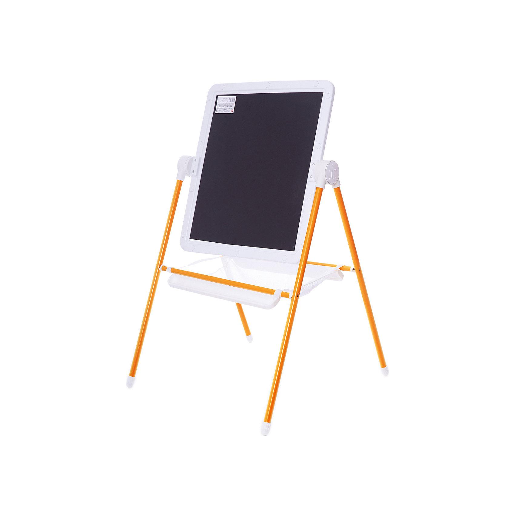 Детский двухсторонний мольберт (оранжевый с белым)Детский двухсторонний мольберт (оранжевый с белым).<br><br>Характеристики:<br><br>- Внимание: буквы и цифры приобретаются отдельно.<br>- Размер рабочей поверхности: 521х462 мм.<br>- Высота мольберта (при вертикальном положении экрана): 1032 ±2мм.<br>- Материал: пластик, металл<br>- Цвет: белый, оранжевый, черный<br>- Размер упаковки: 720х610х100 мм.<br>- Вес: 1112 гр.<br><br>Мольберт с 2 магнитными поверхностями - это лучший помощник в игре и учебе. На нем удобно размещать магнитные фигуры и буквы алфавита. Уникальная конструкция мольберта позволяет менять угол наклона экрана - для еще большего комфорта юных художников! Белая сторона экрана (доски) служит для нанесения надписей маркерами на водной основе. Черная сторона – для нанесения надписей мягкими мелками. К стойкам мольберта устанавливаются два лотка для канцелярских принадлежностей – мелки, маркеры, карандаши всегда будут под рукой! Имеется вместительный бокс-сетка для хранения игрушек и принадлежностей для творчества. Горизонтальное положение поверхности мольберта превращает его в площадку для игры. Мольберт идеально сочетается с детской складной мебелью «Дэми».<br><br>Детский двухсторонний мольберт с буквами (оранжевый с белым) можно купить в нашем интернет-магазине.<br><br>Ширина мм: 720<br>Глубина мм: 610<br>Высота мм: 100<br>Вес г: 1112<br>Возраст от месяцев: 12<br>Возраст до месяцев: 72<br>Пол: Унисекс<br>Возраст: Детский<br>SKU: 5096940