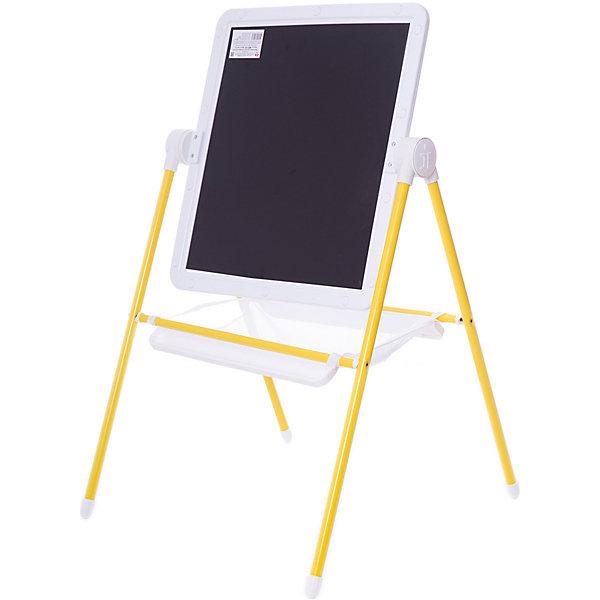 Детский двухсторонний мольберт (желтый с белым)Коврики и доски для рисования<br>Детский двухсторонний мольберт (желтый с белым).<br><br>Характеристики:<br><br>- Внимание: буквы и цифры приобертаются отдельно.<br>- Размер рабочей поверхности: 521х462 мм.<br>- Высота мольберта (при вертикальном положении экрана): 1032 ±2мм.<br>- Материал: пластик, металл<br>- Цвет: белый, желтый, черный<br>- Размер упаковки: 720х610х100 мм.<br>- Вес: 1112 гр.<br><br>Мольберт с 2 магнитными поверхностями - это лучший помощник в игре и учебе. На нем удобно размещать магнитные фигуры и буквы алфавита. Уникальная конструкция мольберта позволяет менять угол наклона экрана - для еще большего комфорта юных художников! Белая сторона экрана (доски) служит для нанесения надписей маркерами на водной основе. Черная сторона – для нанесения надписей мягкими мелками. К стойкам мольберта устанавливаются два лотка для канцелярских принадлежностей – мелки, маркеры, карандаши всегда будут под рукой! Имеется вместительный бокс-сетка для хранения игрушек и принадлежностей для творчества. Горизонтальное положение поверхности мольберта превращает его в площадку для игры. Мольберт идеально сочетается с детской складной мебелью «Дэми».<br><br>Детский двухсторонний мольберт с буквами (желтый с белым) можно купить в нашем интернет-магазине.<br>Ширина мм: 720; Глубина мм: 640; Высота мм: 100; Вес г: 1112; Возраст от месяцев: 12; Возраст до месяцев: 72; Пол: Унисекс; Возраст: Детский; SKU: 5096941;