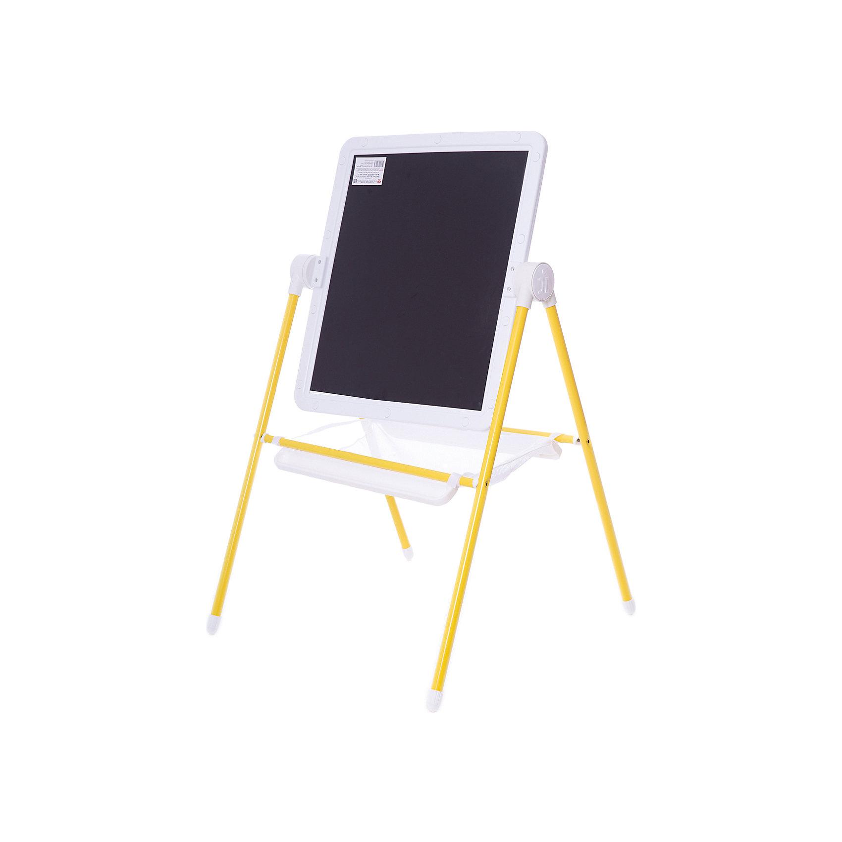 Детский двухсторонний мольберт (желтый с белым)Мебель<br>Детский двухсторонний мольберт (желтый с белым).<br><br>Характеристики:<br><br>- Внимание: буквы и цифры приобертаются отдельно.<br>- Размер рабочей поверхности: 521х462 мм.<br>- Высота мольберта (при вертикальном положении экрана): 1032 ±2мм.<br>- Материал: пластик, металл<br>- Цвет: белый, желтый, черный<br>- Размер упаковки: 720х610х100 мм.<br>- Вес: 1112 гр.<br><br>Мольберт с 2 магнитными поверхностями - это лучший помощник в игре и учебе. На нем удобно размещать магнитные фигуры и буквы алфавита. Уникальная конструкция мольберта позволяет менять угол наклона экрана - для еще большего комфорта юных художников! Белая сторона экрана (доски) служит для нанесения надписей маркерами на водной основе. Черная сторона – для нанесения надписей мягкими мелками. К стойкам мольберта устанавливаются два лотка для канцелярских принадлежностей – мелки, маркеры, карандаши всегда будут под рукой! Имеется вместительный бокс-сетка для хранения игрушек и принадлежностей для творчества. Горизонтальное положение поверхности мольберта превращает его в площадку для игры. Мольберт идеально сочетается с детской складной мебелью «Дэми».<br><br>Детский двухсторонний мольберт с буквами (желтый с белым) можно купить в нашем интернет-магазине.<br><br>Ширина мм: 720<br>Глубина мм: 640<br>Высота мм: 100<br>Вес г: 1112<br>Возраст от месяцев: 12<br>Возраст до месяцев: 72<br>Пол: Унисекс<br>Возраст: Детский<br>SKU: 5096941