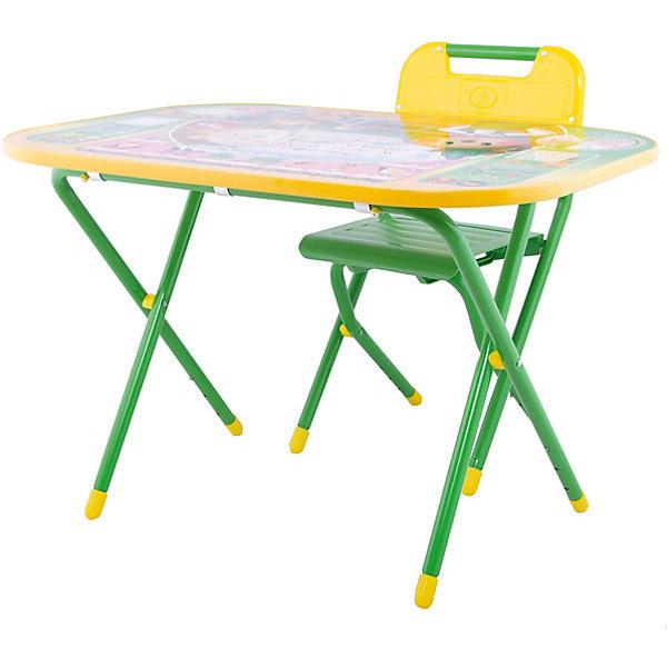 Набор мебели Дошколёнок Чиполлино, Дэми, зеленыйДетские столы и стулья<br>Яркий набор складной мебели для игр и обучения сразу понравится Вашему малышу! Набор отвечает всем требованиям удобства и правильной осанки ребенка. Высота стула и столешницы регулируется. Так же, столешницу можно легко превратить в парту, всего лишь изменив наклон. Крепкие металлические ножки и прочный пластиковый корпус гарантируют надежность набора.<br><br>Дополнительная информация: <br><br>- Возраст: от 3 лет.<br>- Цвет: зеленый.<br>- В наборе: складной стол, складной стул, съемный пенал, ящик для хранения, желоб для канцелярских принадлежностей, руководство по эксплуатации.<br>- Материал: пластмасса, металл.<br>- Высота стола: 52-58 см.<br>- Высота стула: 34-39 см.<br>- Размер рабочей поверхности: 55x80 см.<br>- Размер упаковки: 77х74х14 см.<br>- Вес в упаковке: 10кг.<br><br>Купить набор мебели Дошколенок Чиполлино от Дэми в зеленом цвете, можно в нашем магазине.<br>Ширина мм: 150; Глубина мм: 800; Высота мм: 800; Вес г: 10000; Возраст от месяцев: 36; Возраст до месяцев: 84; Пол: Унисекс; Возраст: Детский; SKU: 5097943;