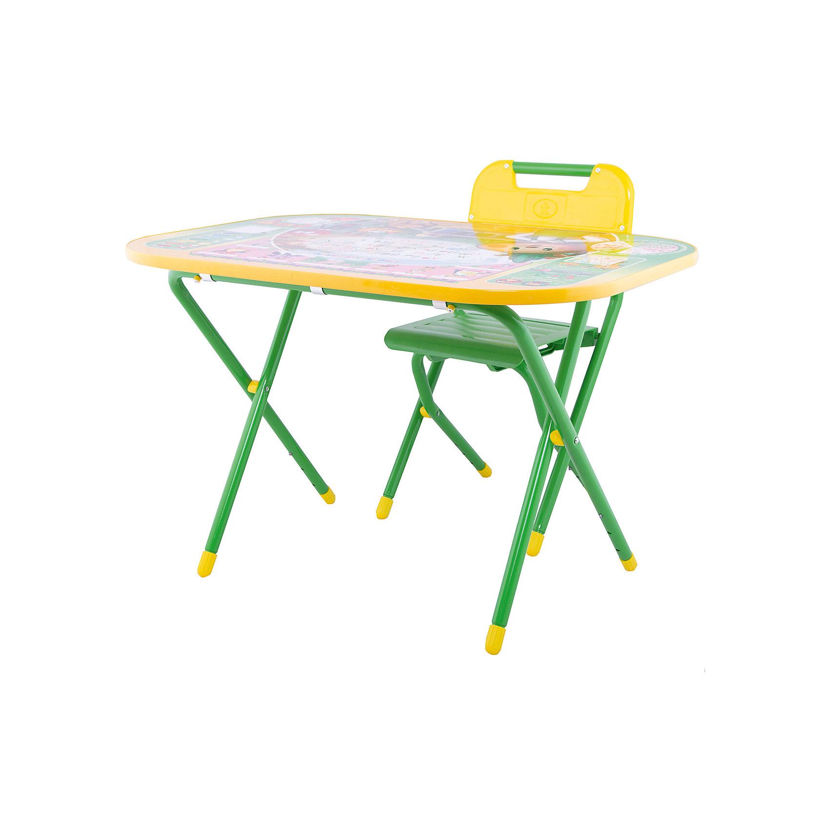 Набор мебели Дошколёнок Чиполлино, Дэми, зеленыйДетские столы и стулья<br>Яркий набор складной мебели для игр и обучения сразу понравится Вашему малышу! Набор отвечает всем требованиям удобства и правильной осанки ребенка. Высота стула и столешницы регулируется. Так же, столешницу можно легко превратить в парту, всего лишь изменив наклон. Крепкие металлические ножки и прочный пластиковый корпус гарантируют надежность набора.<br><br>Дополнительная информация: <br><br>- Возраст: от 3 лет.<br>- Цвет: зеленый.<br>- В наборе: складной стол, складной стул, съемный пенал, ящик для хранения, желоб для канцелярских принадлежностей, руководство по эксплуатации.<br>- Материал: пластмасса, металл.<br>- Высота стола: 52-58 см.<br>- Высота стула: 34-39 см.<br>- Размер рабочей поверхности: 55x80 см.<br>- Размер упаковки: 77х74х14 см.<br>- Вес в упаковке: 10кг.<br><br>Купить набор мебели Дошколенок Чиполлино от Дэми в зеленом цвете, можно в нашем магазине.<br><br>Ширина мм: 150<br>Глубина мм: 800<br>Высота мм: 800<br>Вес г: 10000<br>Возраст от месяцев: 36<br>Возраст до месяцев: 84<br>Пол: Унисекс<br>Возраст: Детский<br>SKU: 5097943