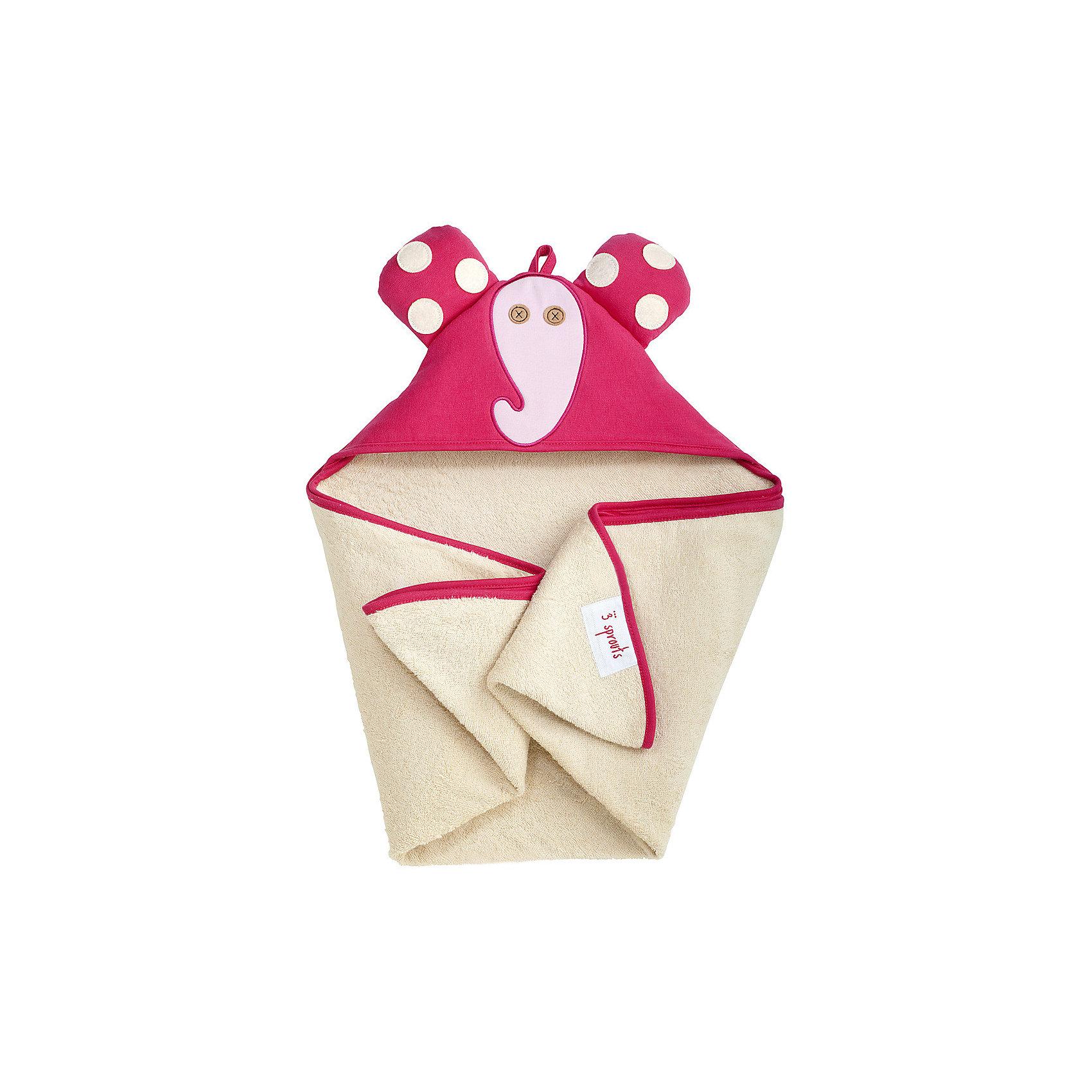 Полотенце с капюшоном Слоник (Pink Elephant), 3 SproutsПолотенца, мочалки, халаты<br>Милое полотенце для маленькой крохи. Махровое изнутри, а внешний слой изготовлен из 100% хлопка. <br><br>Дополнительная информация:<br><br>- Размер полотенца: 76х76 см.<br>- Материал: 100% хлопок снаружи, махровая ткань изнутри.<br>- Уход: деликатная стирка в холодной воде.<br><br>Купить полотенце с капюшоном Слоник (Pink Elephant), можно в нашем магазине.<br><br>Ширина мм: 260<br>Глубина мм: 20<br>Высота мм: 330<br>Вес г: 402<br>Возраст от месяцев: 0<br>Возраст до месяцев: 18<br>Пол: Унисекс<br>Возраст: Детский<br>SKU: 5098198