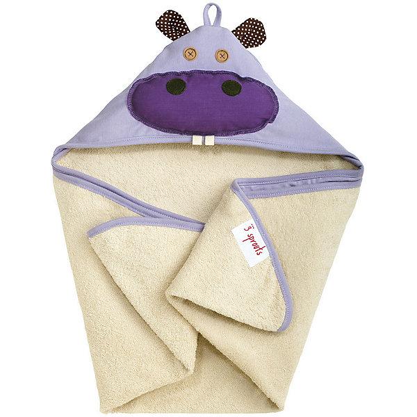 Полотенце с капюшоном Бегемотик (Purple Hippo), 3 Sprouts