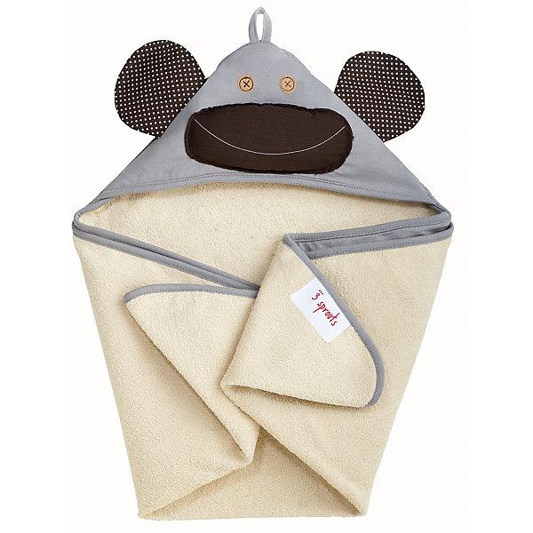 Полотенце с капюшоном Серая обезьянка (Grey Monkey), 3 Sprouts