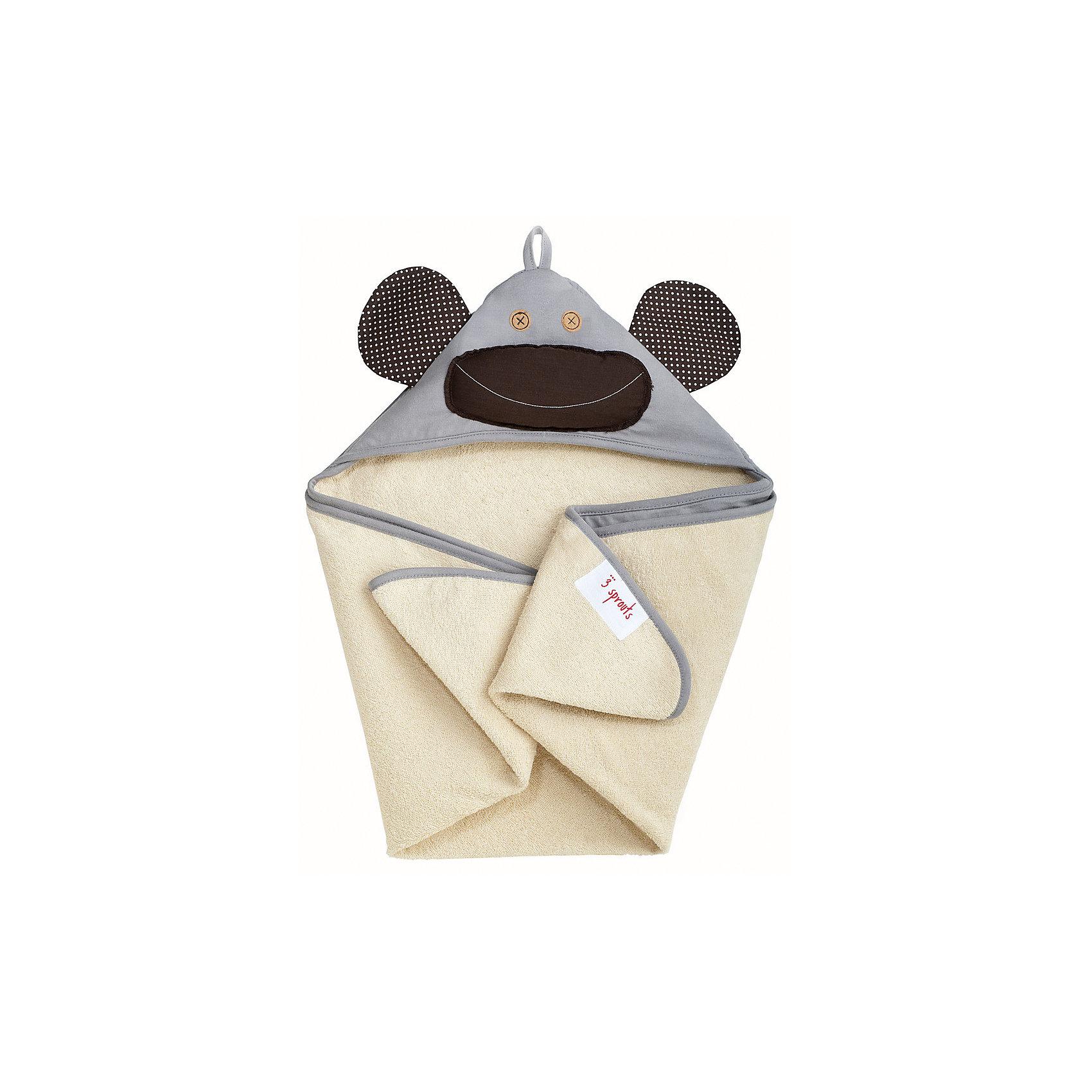 Полотенце с капюшоном Серая обезьянка (Grey Monkey), 3 SproutsПляжные полотенца<br>Милое полотенце для маленькой крохи. Махровое изнутри, а внешний слой изготовлен из 100% хлопка. <br><br>Дополнительная информация:<br><br>- Размер полотенца: 76х76 см.<br>- Материал: 100% хлопок снаружи, махровая ткань изнутри.<br>- Уход: деликатная стирка в холодной воде.<br><br>Купить полотенце с капюшоном Серая обезьянка  (Grey Monkey), можно в нашем магазине.<br><br>Ширина мм: 260<br>Глубина мм: 20<br>Высота мм: 330<br>Вес г: 402<br>Возраст от месяцев: 0<br>Возраст до месяцев: 18<br>Пол: Унисекс<br>Возраст: Детский<br>SKU: 5098200