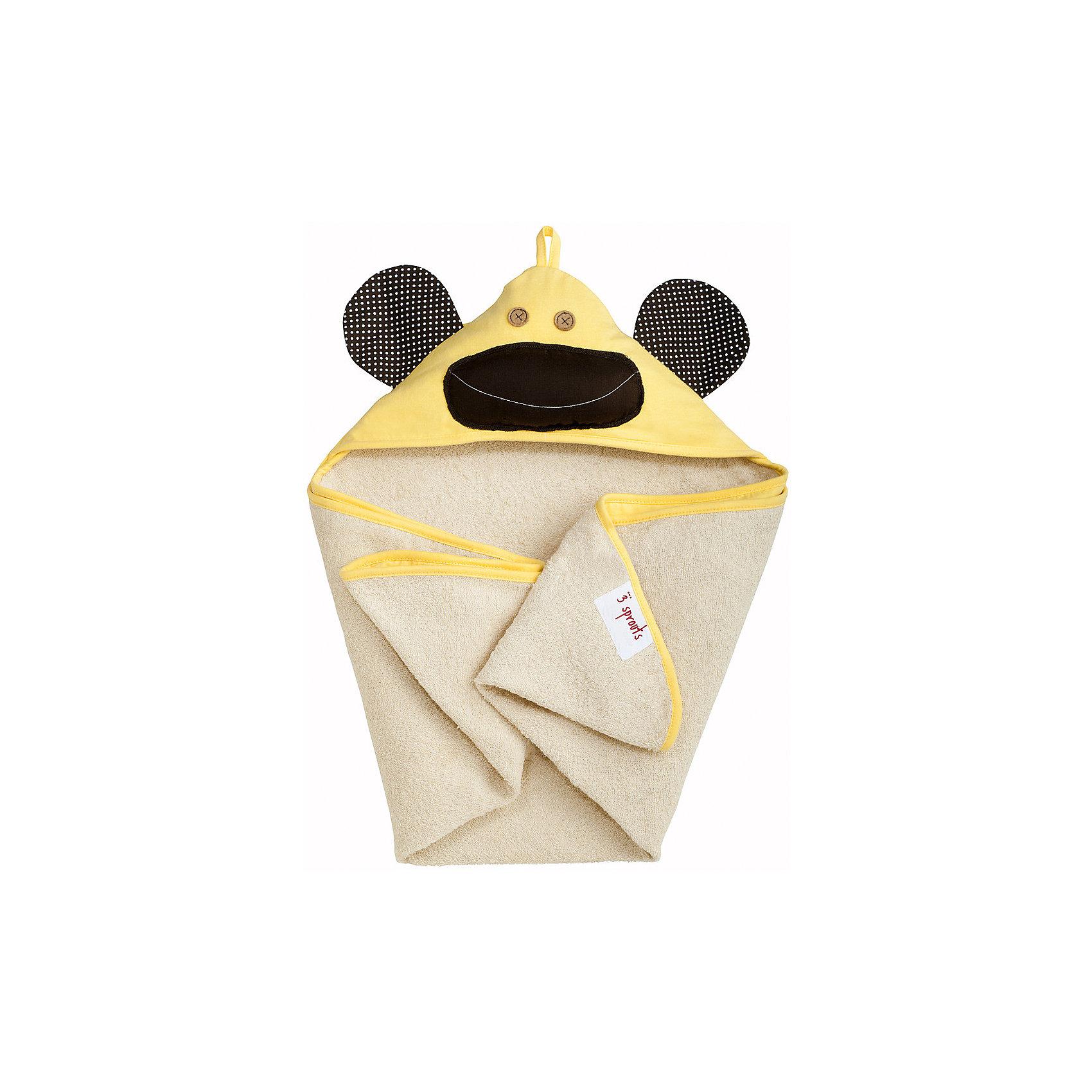 Полотенце с капюшоном Жёлтая обезьянка (Yellow Monkey), 3 SproutsПляжные полотенца<br>Милое полотенце для маленькой крохи. Махровое изнутри, а внешний слой изготовлен из 100% хлопка. <br><br>Дополнительная информация:<br><br>- Размер полотенца: 76х76 см.<br>- Материал: 100% хлопок снаружи, махровая ткань изнутри.<br>- Уход: деликатная стирка в холодной воде.<br><br>Купить полотенце с капюшоном Желтая обезьянка  (Yellow Monkey), можно в нашем магазине.<br><br>Ширина мм: 260<br>Глубина мм: 20<br>Высота мм: 330<br>Вес г: 402<br>Возраст от месяцев: 0<br>Возраст до месяцев: 18<br>Пол: Унисекс<br>Возраст: Детский<br>SKU: 5098201