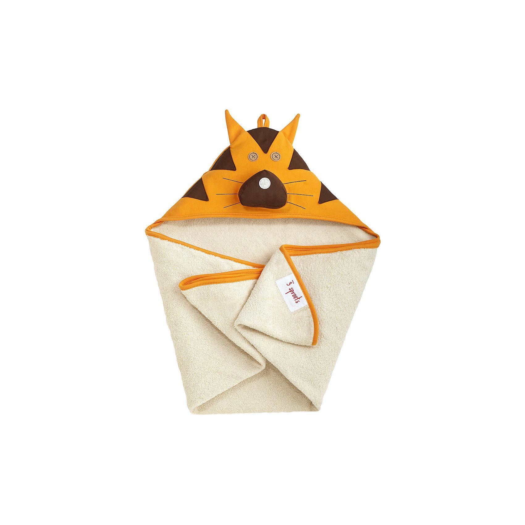 Полотенце с капюшоном Тигр (Orange Tiger), 3 SproutsМилое полотенце для маленькой крохи. Махровое изнутри, а внешний слой изготовлен из 100% хлопка. <br><br>Дополнительная информация:<br><br>- Размер полотенца: 76х76 см.<br>- Материал: 100% хлопок снаружи, махровая ткань изнутри.<br>- Уход: деликатная стирка в холодной воде.<br><br>Купить полотенце с капюшоном Тигр (Orange Tiger), можно в нашем магазине.<br><br>Ширина мм: 260<br>Глубина мм: 20<br>Высота мм: 330<br>Вес г: 402<br>Возраст от месяцев: 0<br>Возраст до месяцев: 18<br>Пол: Унисекс<br>Возраст: Детский<br>SKU: 5098202