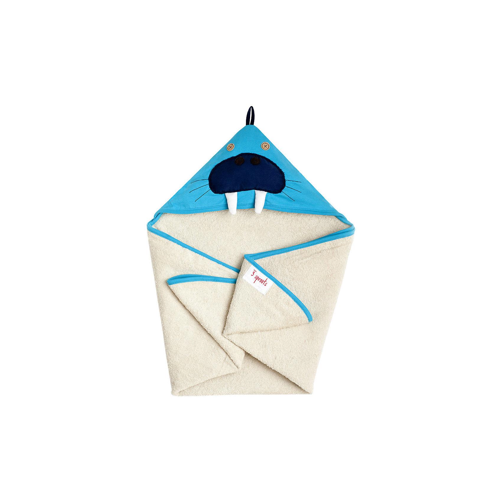 Полотенце с капюшоном Морж (Blue Walrus), 3 SproutsМилое полотенце для маленькой крохи. Махровое изнутри, а внешний слой изготовлен из 100% хлопка. <br><br>Дополнительная информация:<br><br>- Размер полотенца: 76х76 см.<br>- Материал: 100% хлопок снаружи, махровая ткань изнутри.<br>- Уход: деликатная стирка в холодной воде.<br><br>Купить полотенце с капюшоном Морж (Blue Walrus), можно в нашем магазине.<br><br>Ширина мм: 260<br>Глубина мм: 20<br>Высота мм: 330<br>Вес г: 402<br>Возраст от месяцев: 0<br>Возраст до месяцев: 18<br>Пол: Унисекс<br>Возраст: Детский<br>SKU: 5098203