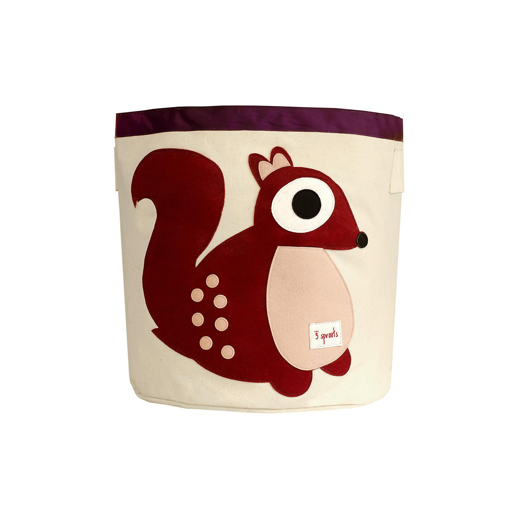 Корзина для хранения Белочка (Berry Squirrel), 3 SproutsПорядок в детской<br>Такие милые корзины помогут Вам навести порядок в детской. Размер корзины позволяет хранить в ней игрушки или белье.  <br><br>Дополнительная информация:<br><br>- Размер полотенца: 44.5х43 см.<br>- Материал: <br>100% хлопковый брезент.<br>100% полиэстровая фетровая аппликация.<br>100% полиэтиленовое покрытие (внутри).<br><br>Купить корзину для хранения Белочка (Berry Squirrel), можно в нашем магазине.<br><br>Ширина мм: 250<br>Глубина мм: 20<br>Высота мм: 450<br>Вес г: 526<br>Возраст от месяцев: 6<br>Возраст до месяцев: 84<br>Пол: Унисекс<br>Возраст: Детский<br>SKU: 5098211