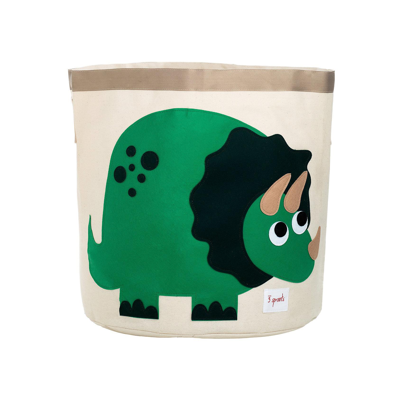 Корзина для хранения Динозаврик (Green Dinosaur), 3 SproutsПорядок в детской<br>Такие милые корзины помогут Вам навести порядок в детской. Размер корзины позволяет хранить в ней игрушки или белье.  <br><br>Дополнительная информация:<br><br>- Размер полотенца: 44.5х43 см.<br>- Материал: <br>100% хлопковый брезент.<br>100% полиэстровая фетровая аппликация.<br>100% полиэтиленовое покрытие (внутри).<br><br>Купить корзину для хранения Динозаврик (Green Dinosaur), можно в нашем магазине.<br><br>Ширина мм: 250<br>Глубина мм: 20<br>Высота мм: 450<br>Вес г: 526<br>Возраст от месяцев: 6<br>Возраст до месяцев: 84<br>Пол: Унисекс<br>Возраст: Детский<br>SKU: 5098214