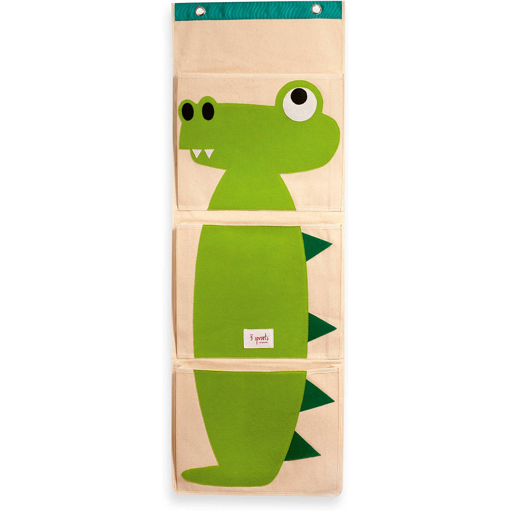 Органайзер на стену Крокодил (Green Crocodile), 3 SproutsТри ярких больших кармана, которые легко вешаются на стену, прекрасно подойдут для хранения подгузников, бесценных произведений искусства Вашего ребёнка и мелких игрушек.<br><br>Дополнительная информация:<br><br>- Размер органайзера: 35.5x100 см.<br>- Размер карманов: 35.5x29 см.<br>- Материал: <br>100% брезентовый хлопок.<br>100% полиэстеровый фетр.<br>100% полиэтилен.<br><br>Купить органайзер на стену Крокодил (Green Crocodile), можно в нашем магазине.<br><br>Ширина мм: 370<br>Глубина мм: 20<br>Высота мм: 310<br>Вес г: 430<br>Возраст от месяцев: 6<br>Возраст до месяцев: 84<br>Пол: Унисекс<br>Возраст: Детский<br>SKU: 5098218