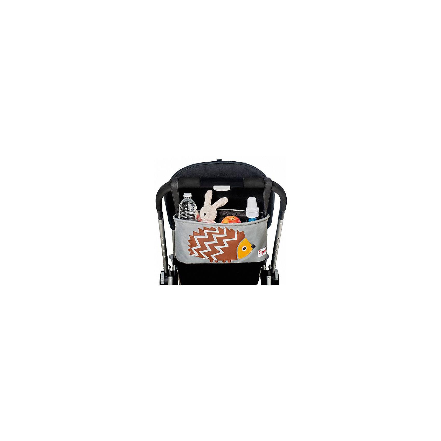 Сумка-органайзер для коляски Ёжик (Brown Hedgehog SPR808), 3 SproutsАксессуары для колясок<br>Милая сумка-органайзер для мамы. Всё необходимое будет под рукой, когда Вы отправитесь на прогулку со своим малышом. Сумочку можно просто протирать при необходимости, она имеет два отделённых отсека для стакана или бутылки. Так же, есть специальный потайной кармашек для ключей и телефона.<br><br>Дополнительная информация:<br><br>- Размер: 32x15x13 см.<br>- Материал: полиэстер.<br>- Орнамент: Ёжик.<br><br>Купить сумку-органайзер для коляски Ёжик (Brown Hedgehog), можно в нашем магазине.<br><br>Ширина мм: 420<br>Глубина мм: 25<br>Высота мм: 180<br>Вес г: 226<br>Возраст от месяцев: 0<br>Возраст до месяцев: 36<br>Пол: Унисекс<br>Возраст: Детский<br>SKU: 5098253