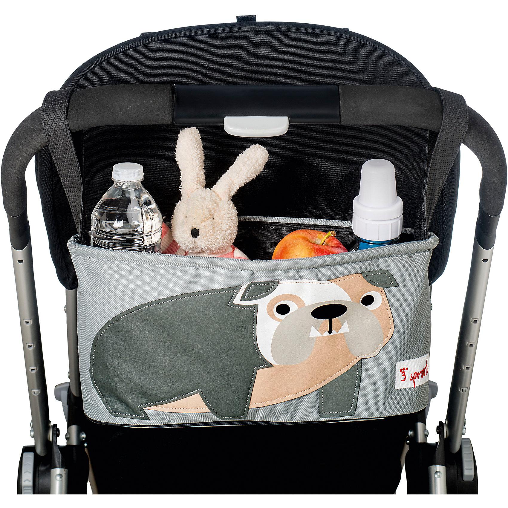 Сумка-органайзер для коляски Бульдог (Grey Bulldog SPR807), 3 SproutsАксессуары для колясок<br>Милая сумка-органайзер для мамы. Всё необходимое будет под рукой, когда Вы отправитесь на прогулку со своим малышом. Сумочку можно просто протирать при необходимости, она имеет два отделённых отсека для стакана или бутылки. Так же, есть специальный потайной кармашек для ключей и телефона.<br><br>Дополнительная информация:<br><br>- Размер: 32x15x13 см.<br>- Материал: полиэстер.<br>- Орнамент: Бульдог.<br><br>Купить сумку-органайзер для коляски Бульдог (Grey Bulldog), можно в нашем магазине.<br><br>Ширина мм: 420<br>Глубина мм: 25<br>Высота мм: 180<br>Вес г: 226<br>Возраст от месяцев: 0<br>Возраст до месяцев: 36<br>Пол: Унисекс<br>Возраст: Детский<br>SKU: 5098254