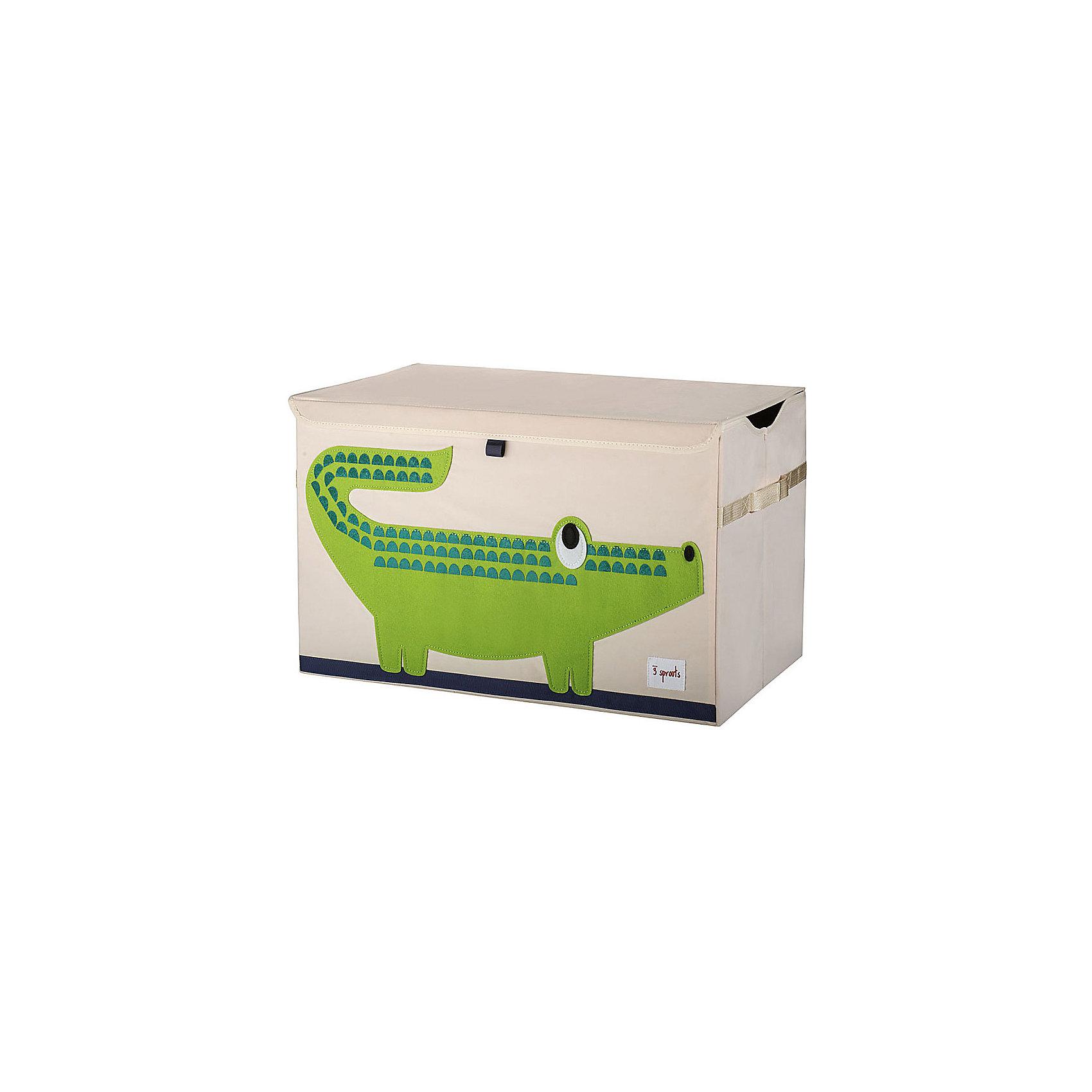 Сундук для хранения игрушек Крокодил (Green Crocodile), 3 SproutsПорядок в детской<br>Стильный и вместительный сундук для хранения белья будет прекрасным декором в Вашей комнате!<br><br>Дополнительная информация:<br><br>- Размер: 38x61x37 см.<br>- Материал: 100% полиэстер, 100% полиэстеровая фетровая аппликация, ДСП.<br>- Орнамент: Крокодил.<br><br>Купить сундук для хранения игрушек Крокодил (Green Crocodile), можно в нашем магазине.<br><br>Ширина мм: 660<br>Глубина мм: 25<br>Высота мм: 265<br>Вес г: 2432<br>Возраст от месяцев: 6<br>Возраст до месяцев: 84<br>Пол: Унисекс<br>Возраст: Детский<br>SKU: 5098255